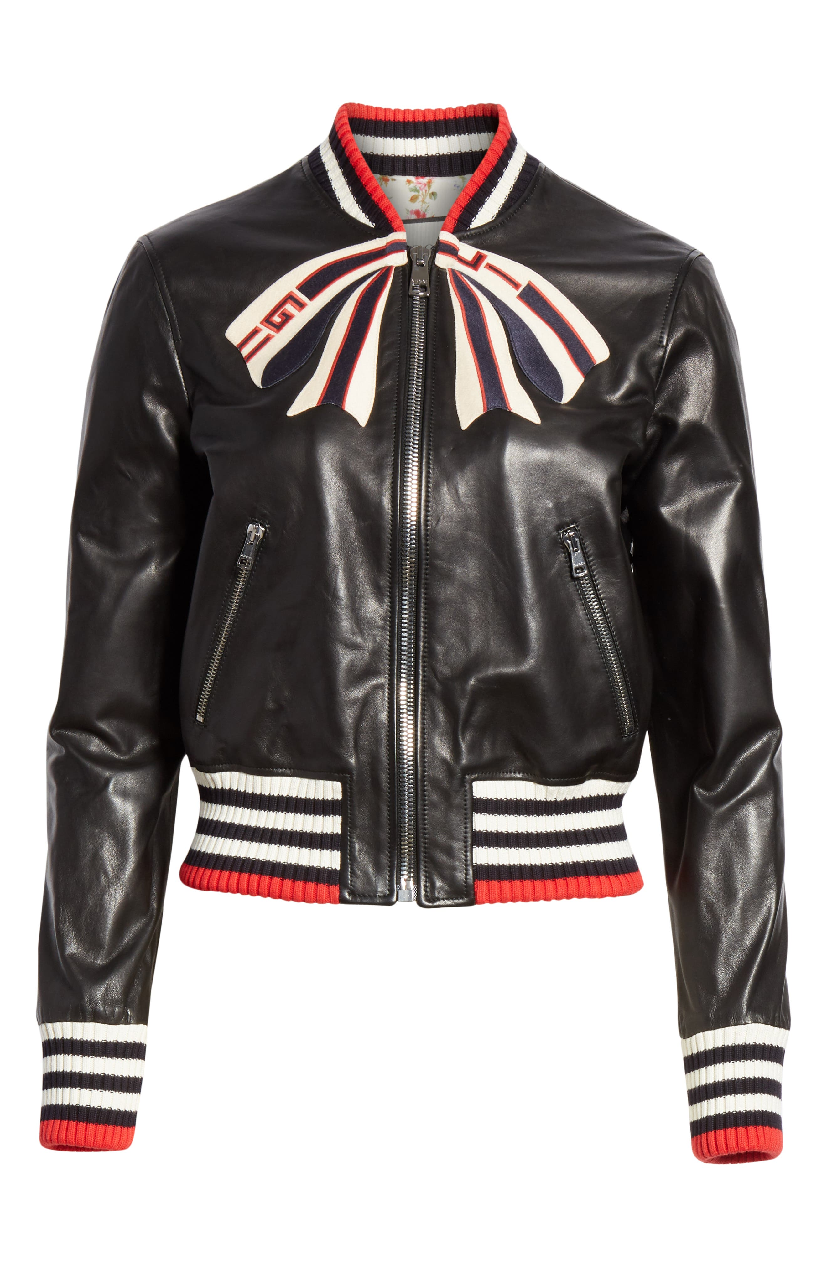 GUCCI,                             Bow Leather Bomber Jacket,                             Alternate thumbnail 4, color,                             1082 BLACK/ MULTICOLOR
