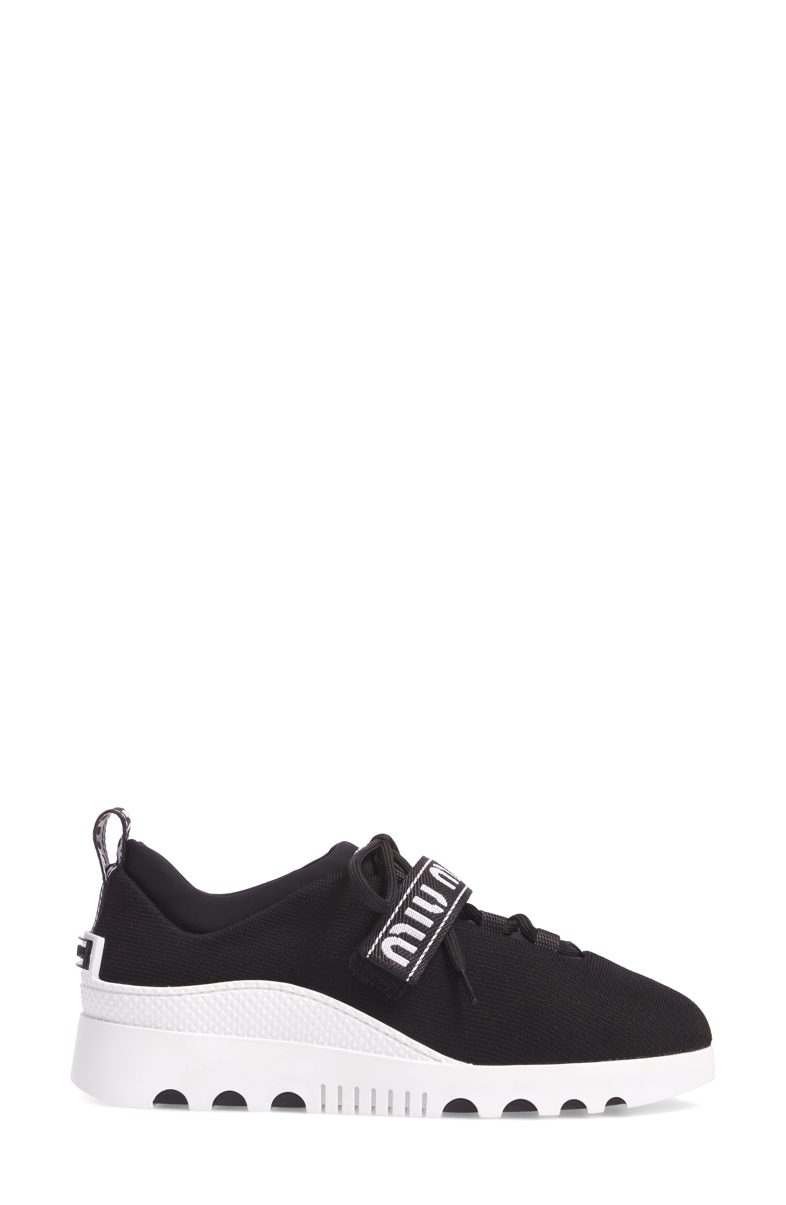 Logo Strap Platform Sneaker,                             Alternate thumbnail 3, color,                             BLACK