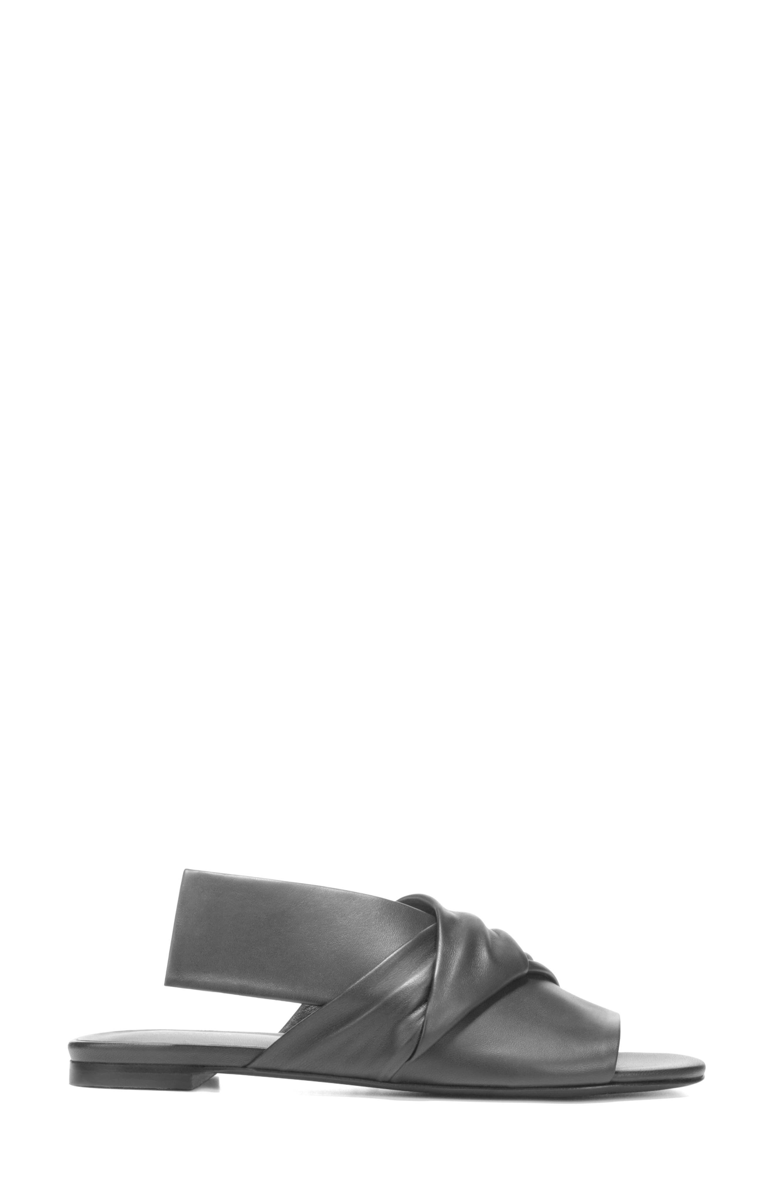Halina Slide Sandal,                             Alternate thumbnail 3, color,                             BLACK LEATHER