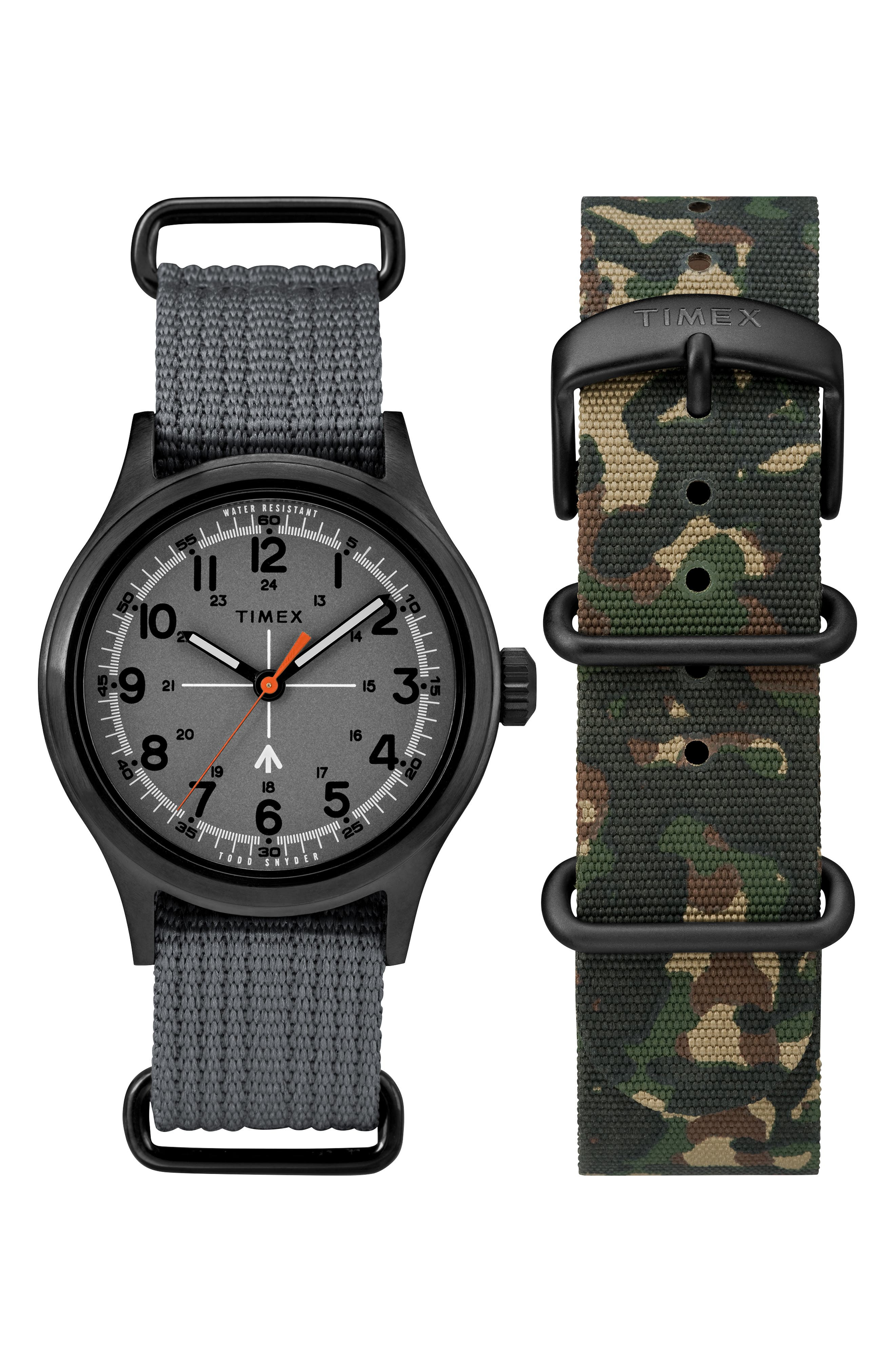 Timex<sup>®</sup> x Todd Snyder The Military NATO Strap Watch Set, 40mm,                             Main thumbnail 1, color,                             GREY/ CAMO