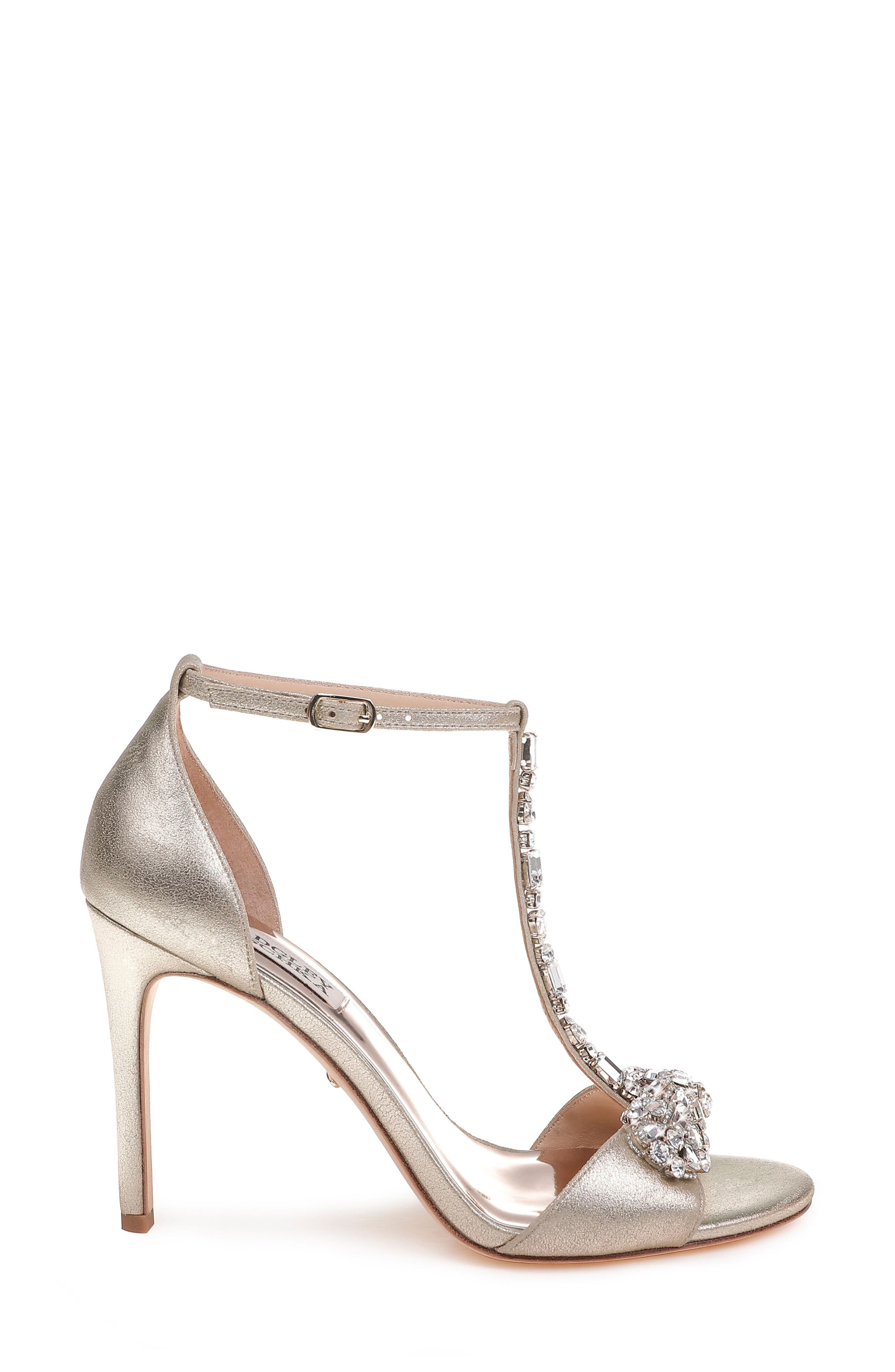 Pascale T-Strap Sandal,                             Alternate thumbnail 3, color,                             PLATINUM METALLIC SUEDE