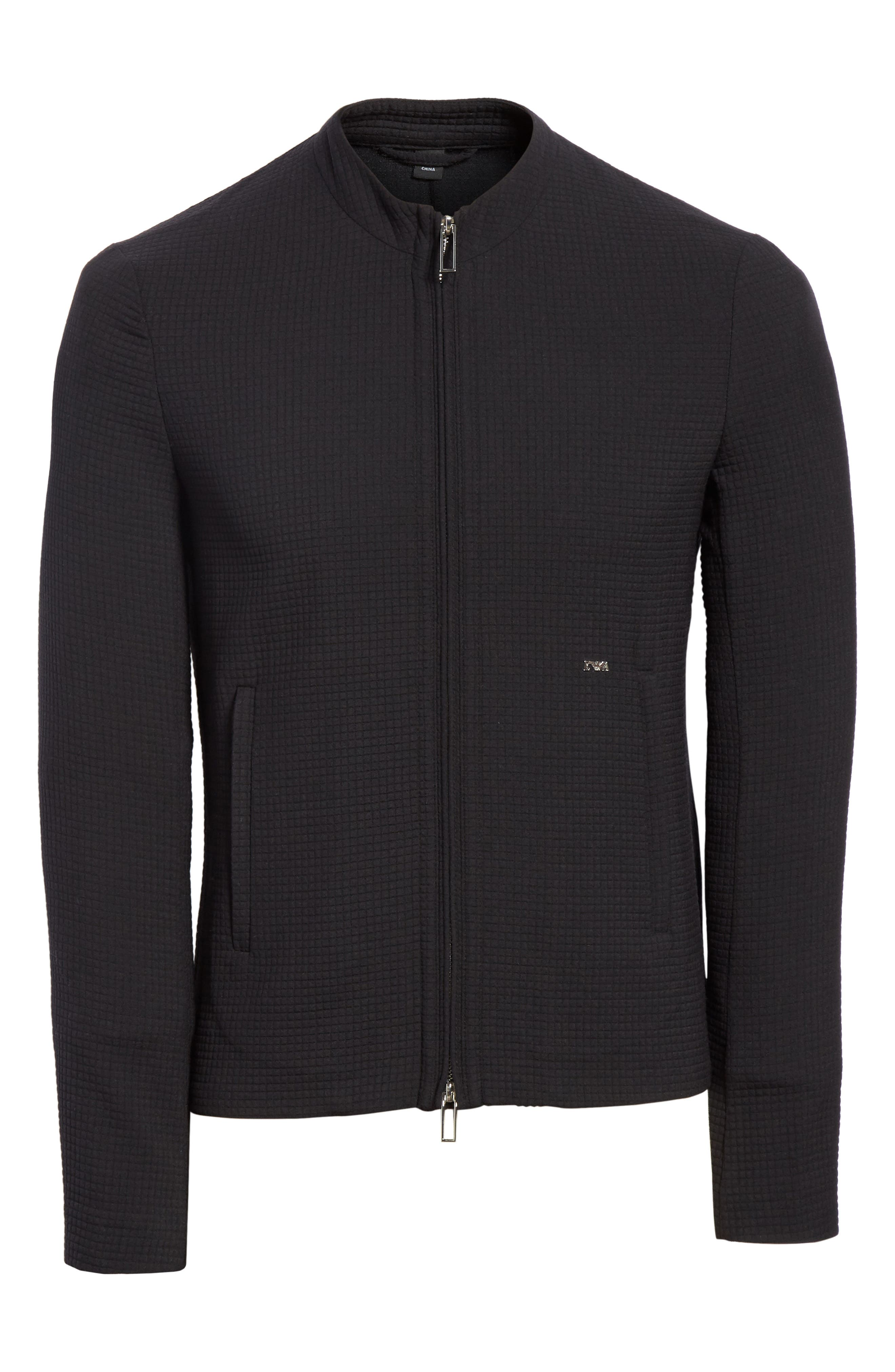 Ripstop Check Wool Blend Jacket,                             Alternate thumbnail 6, color,                             001