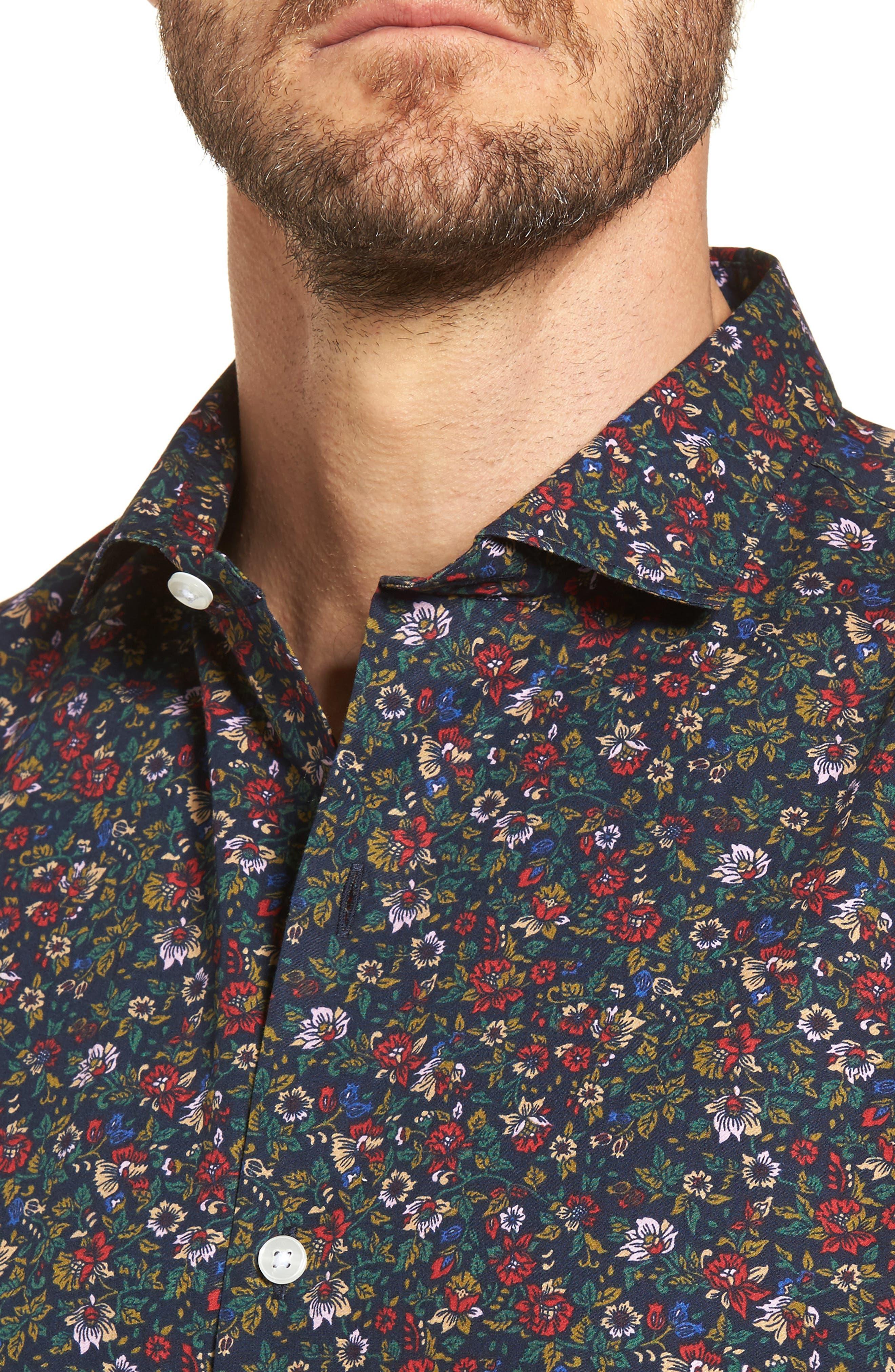 Unbutton Down Slim Fit Floral Sport Shirt,                             Alternate thumbnail 4, color,                             001