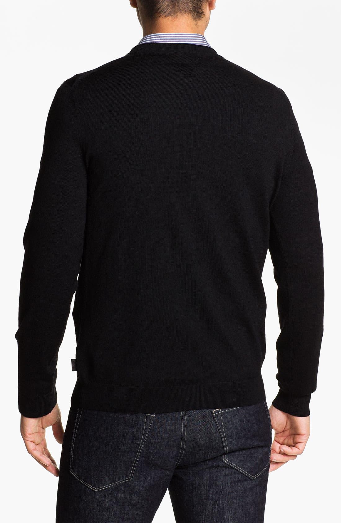 Black 'Baltimore' Wool Button Cardigan,                             Alternate thumbnail 2, color,                             001