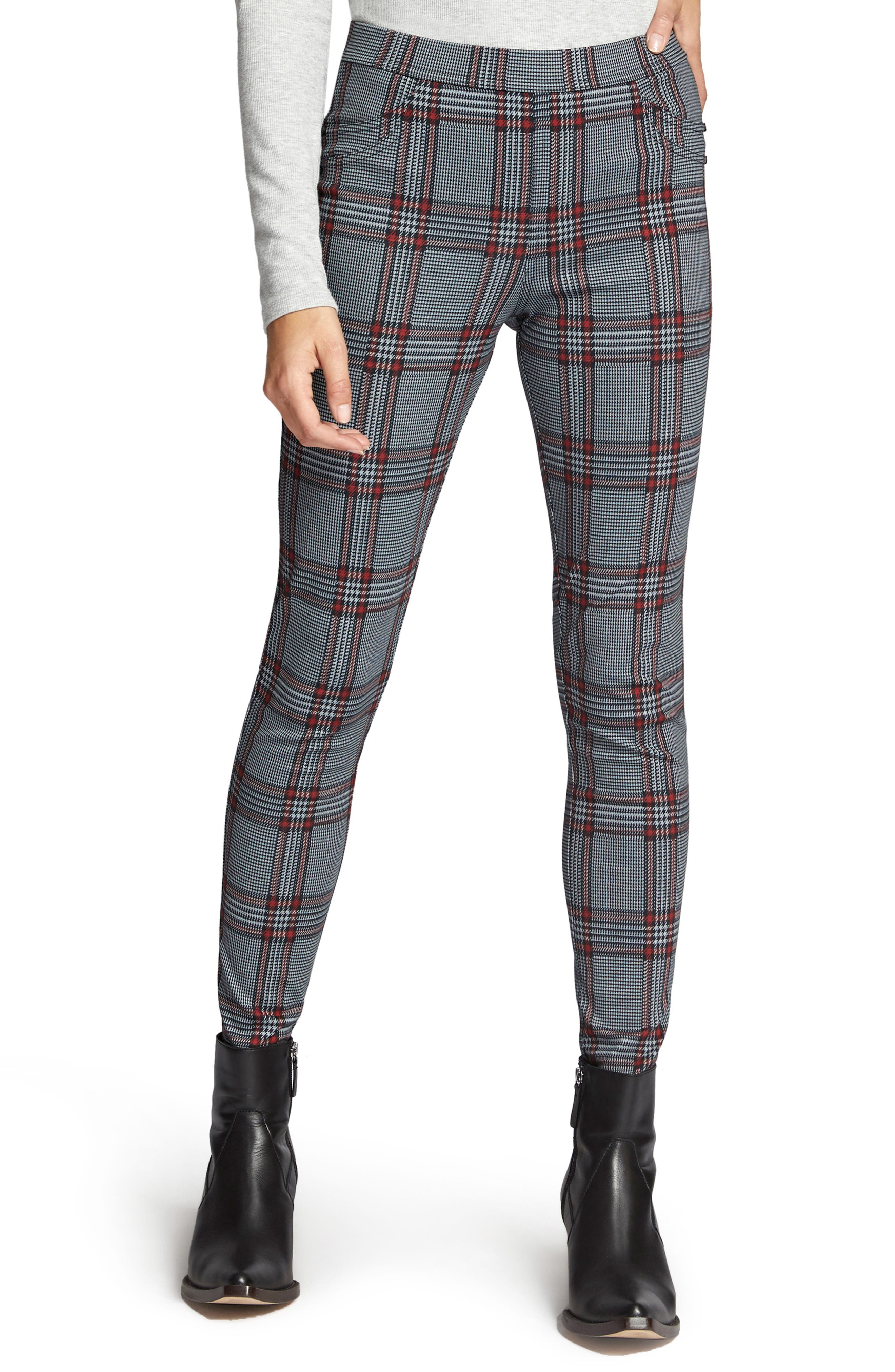 SANCTUARY,                             Grease Plaid Leggings,                             Main thumbnail 1, color,                             020