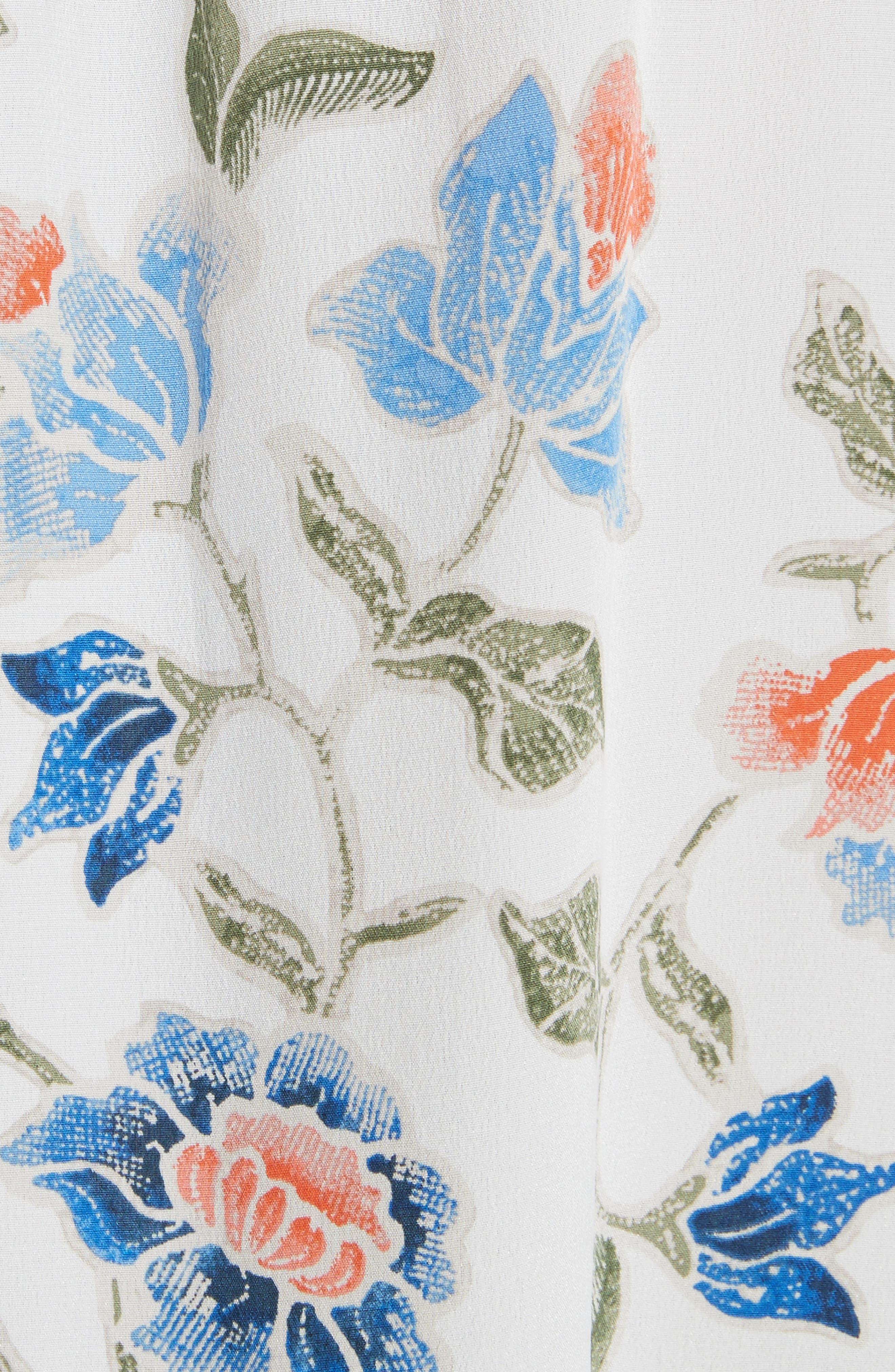 Denisha Floral Ruffle Silk Skirt,                             Alternate thumbnail 5, color,                             114
