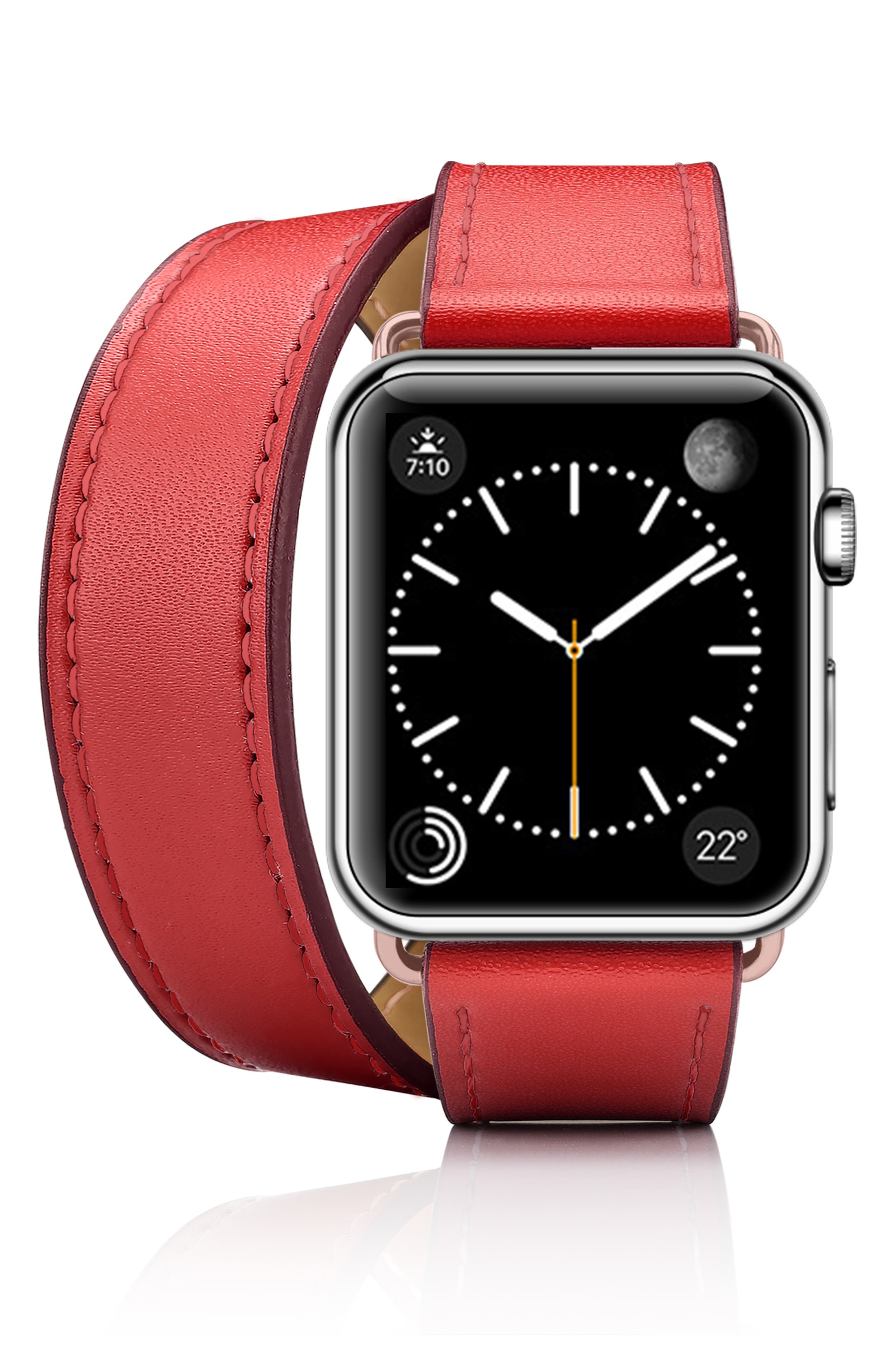Double Tour Leather Apple Watch Strap,                             Alternate thumbnail 3, color,                             RED