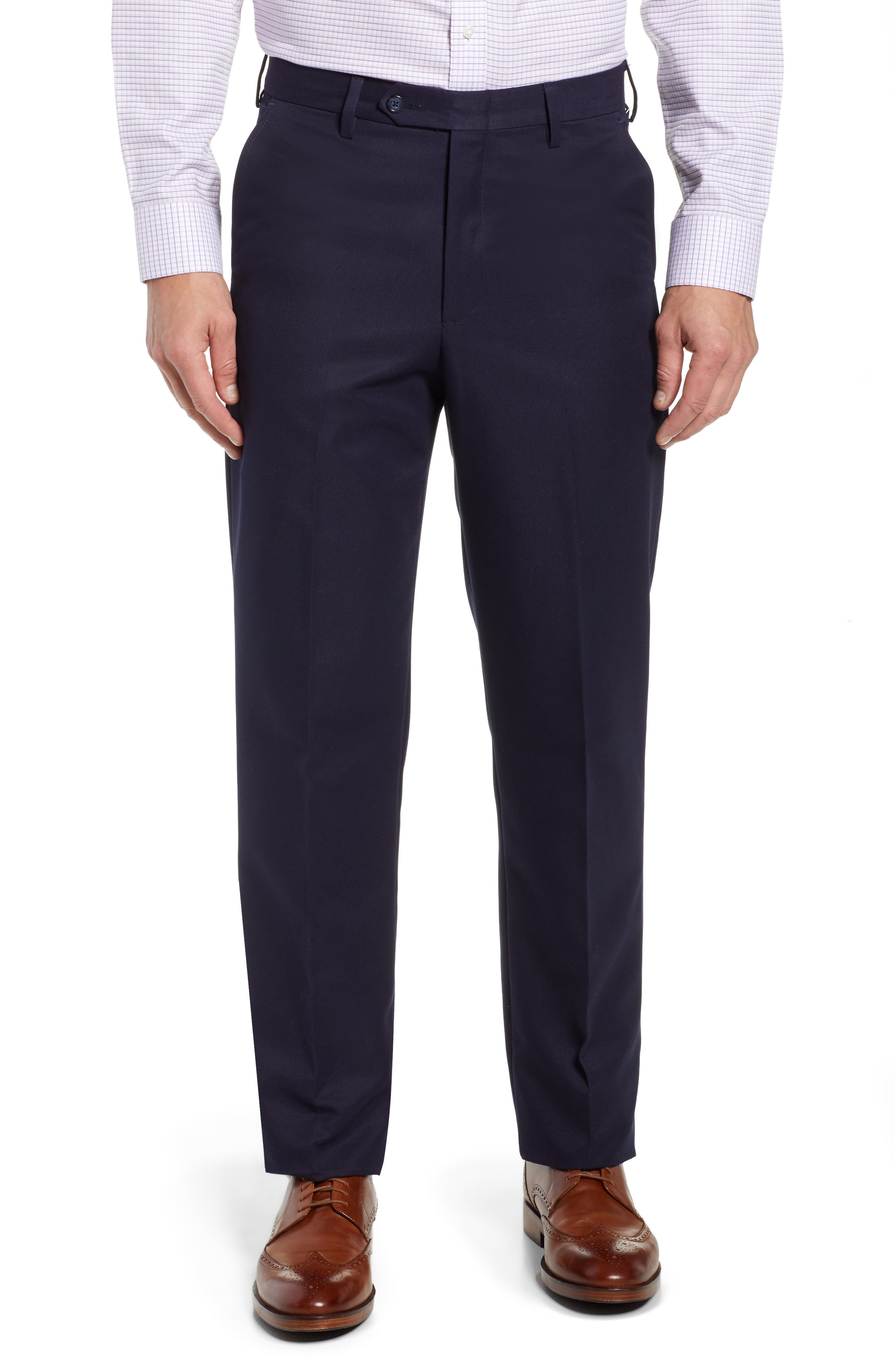 Classic Fit Flat Front Microfiber Performance Trousers,                             Main thumbnail 1, color,                             NAVY