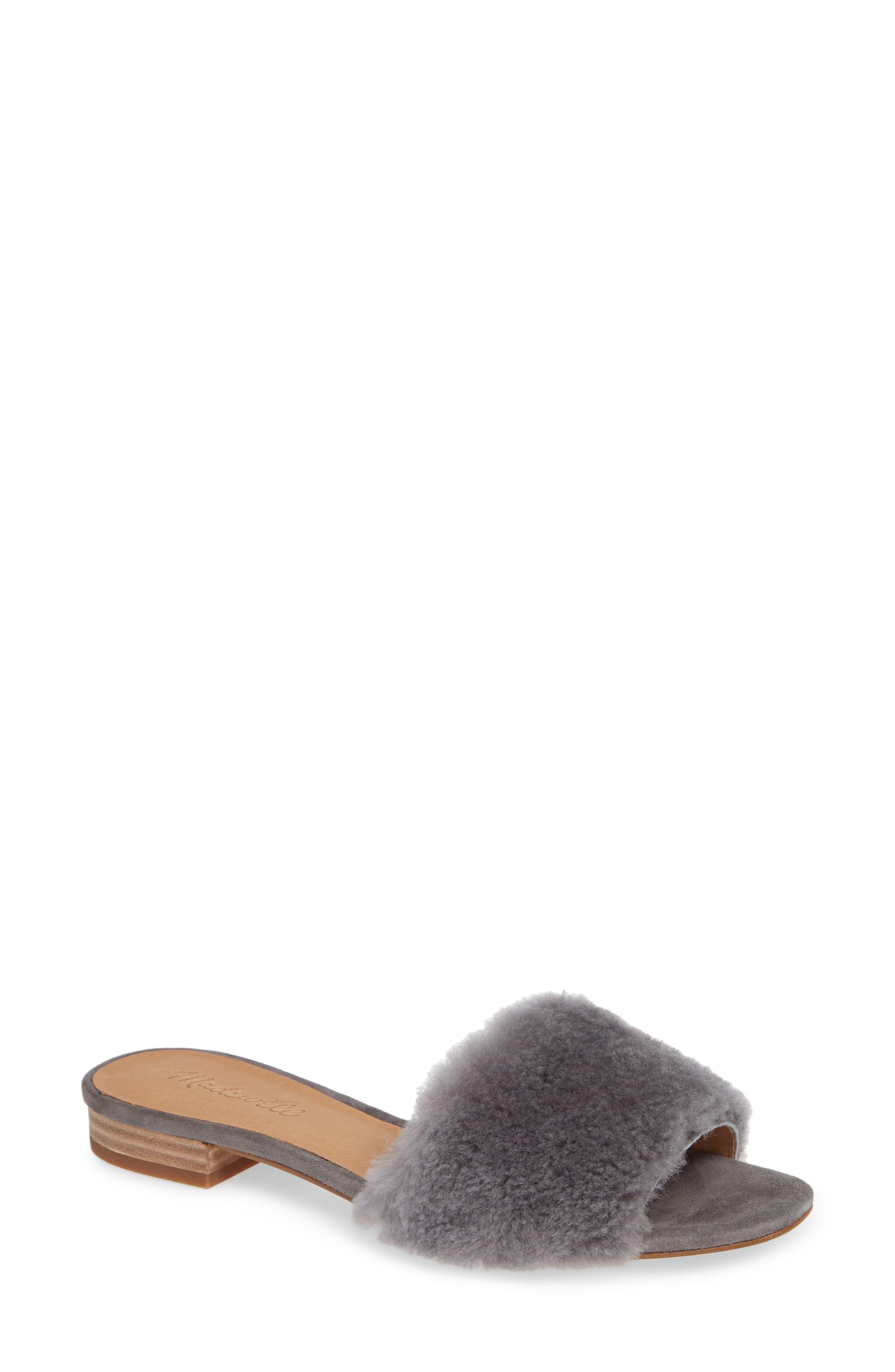Madewell Jackson Genuine Shearling Slide Sandal, Grey
