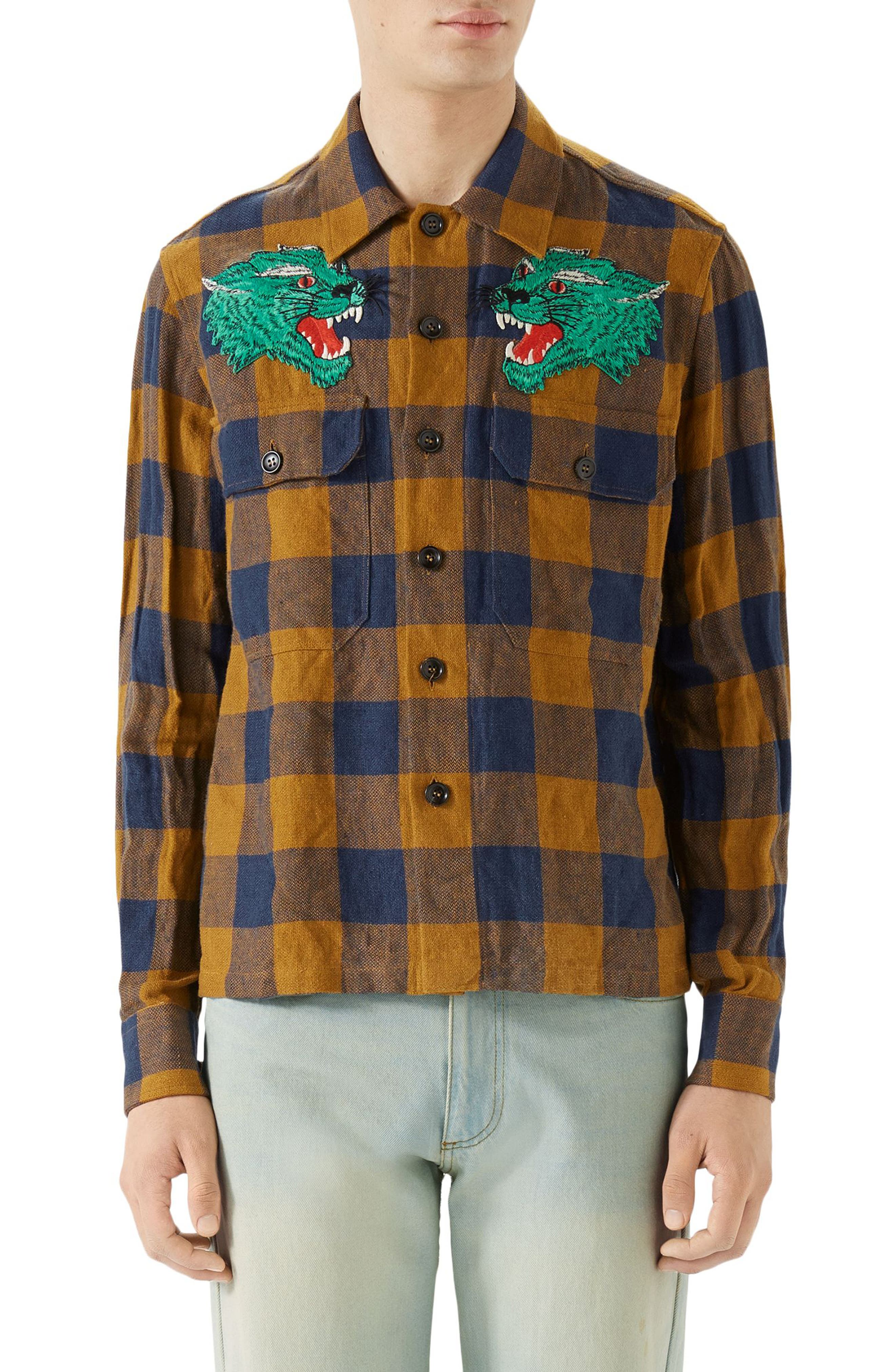 Macro Gingham Panther Appliqué Linen Shirt Jacket,                         Main,                         color, ORANGE