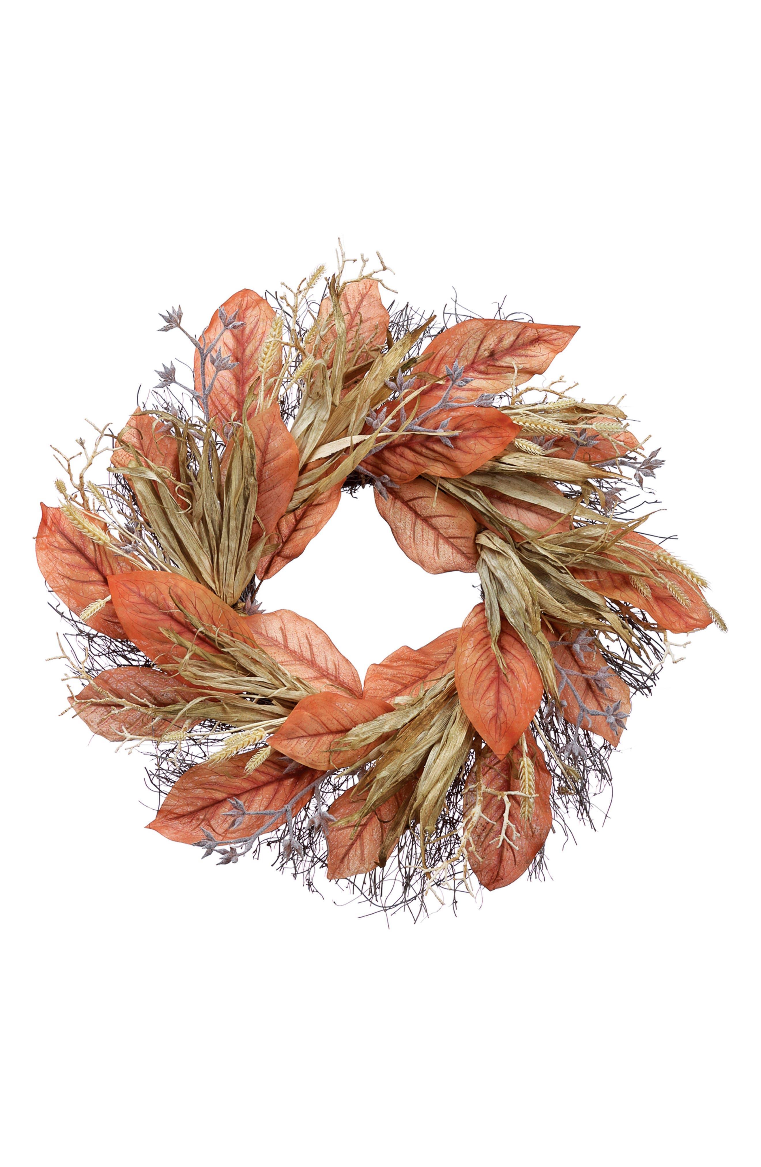 Magnolia & Cornhusk Wreath,                             Main thumbnail 1, color,                             800