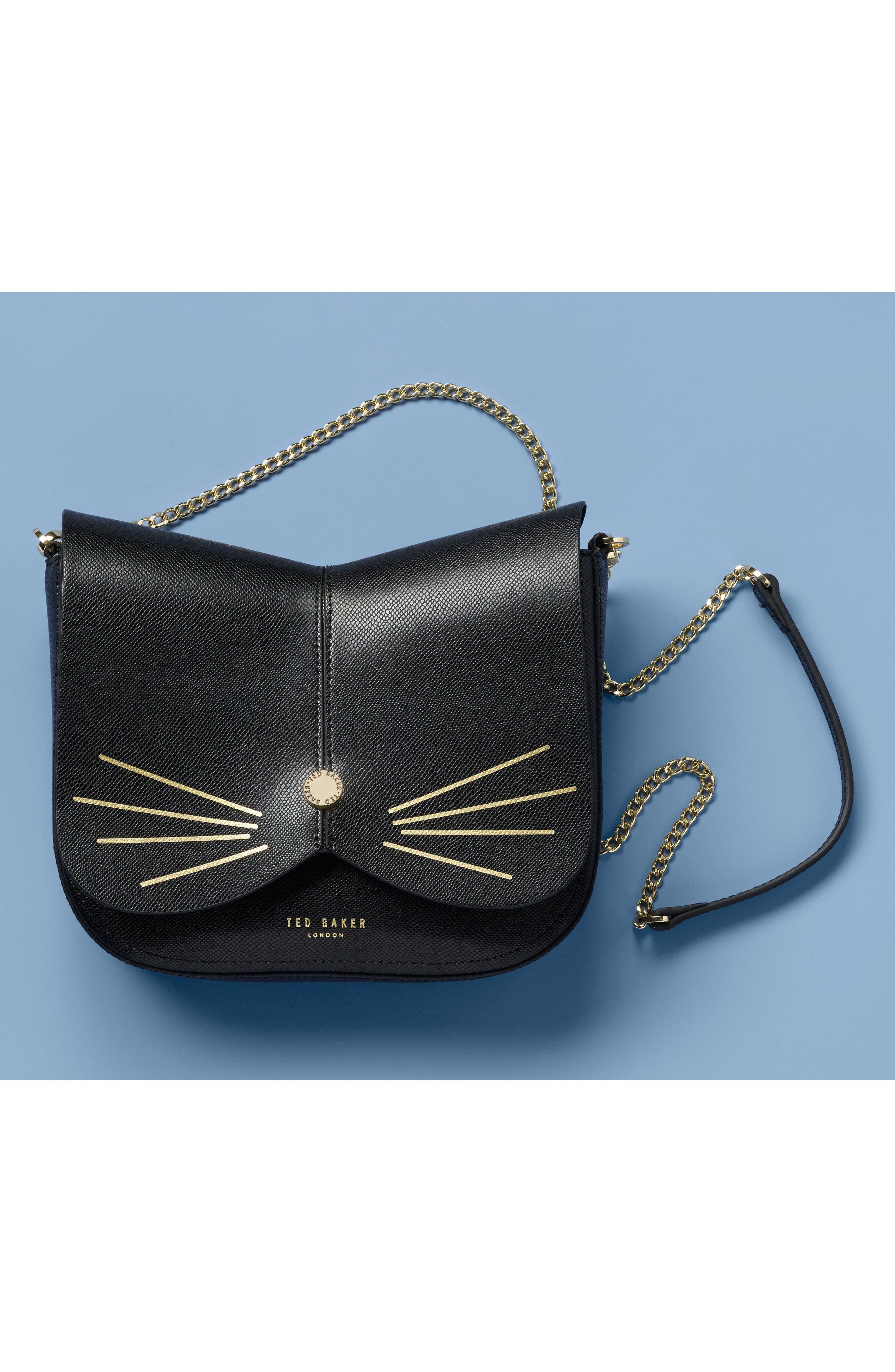 Kittii Cat Leather Crossbody Bag,                             Alternate thumbnail 8, color,                             001