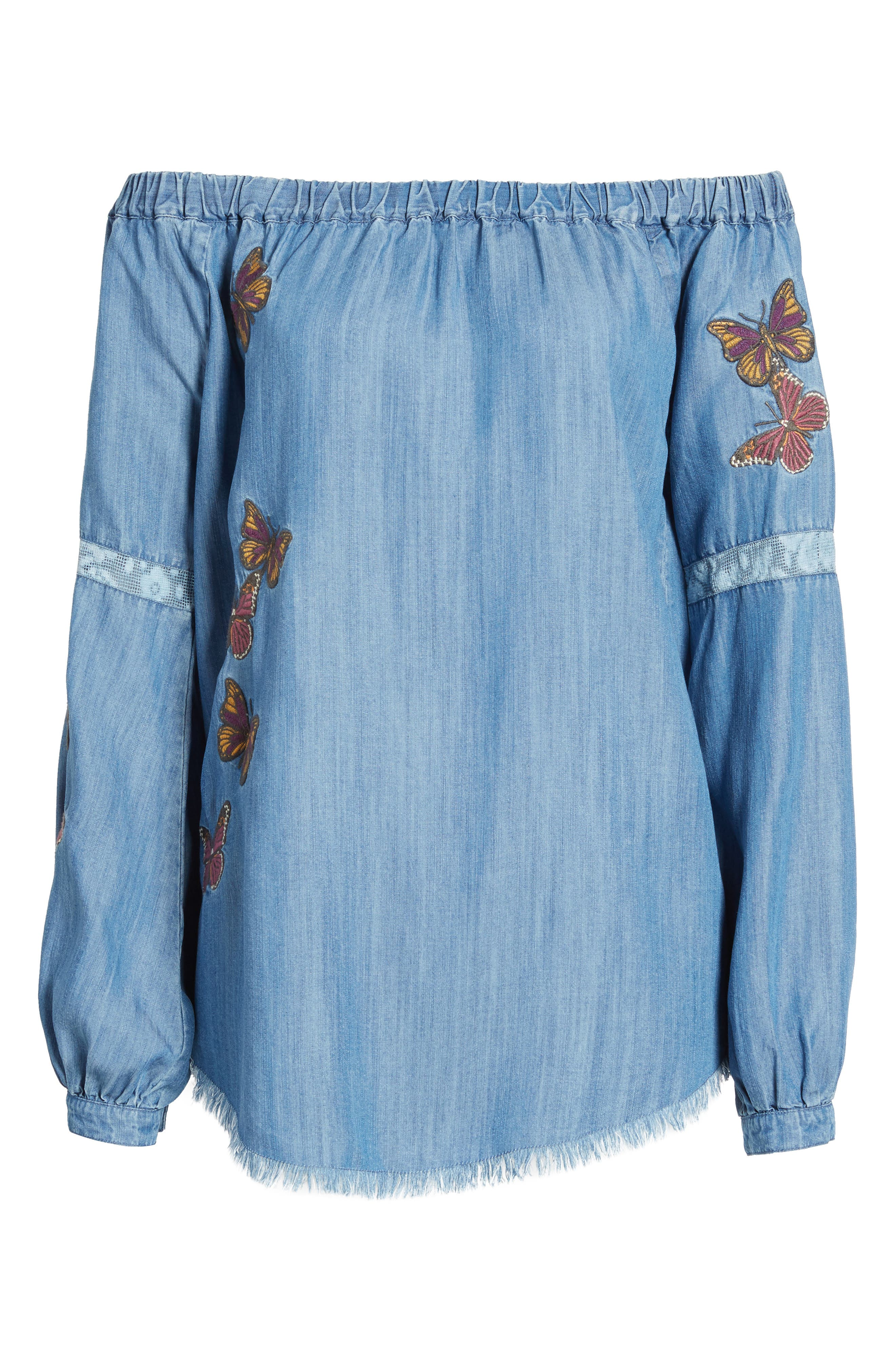Embroidered Off the Shoulder Top,                             Alternate thumbnail 6, color,                             420