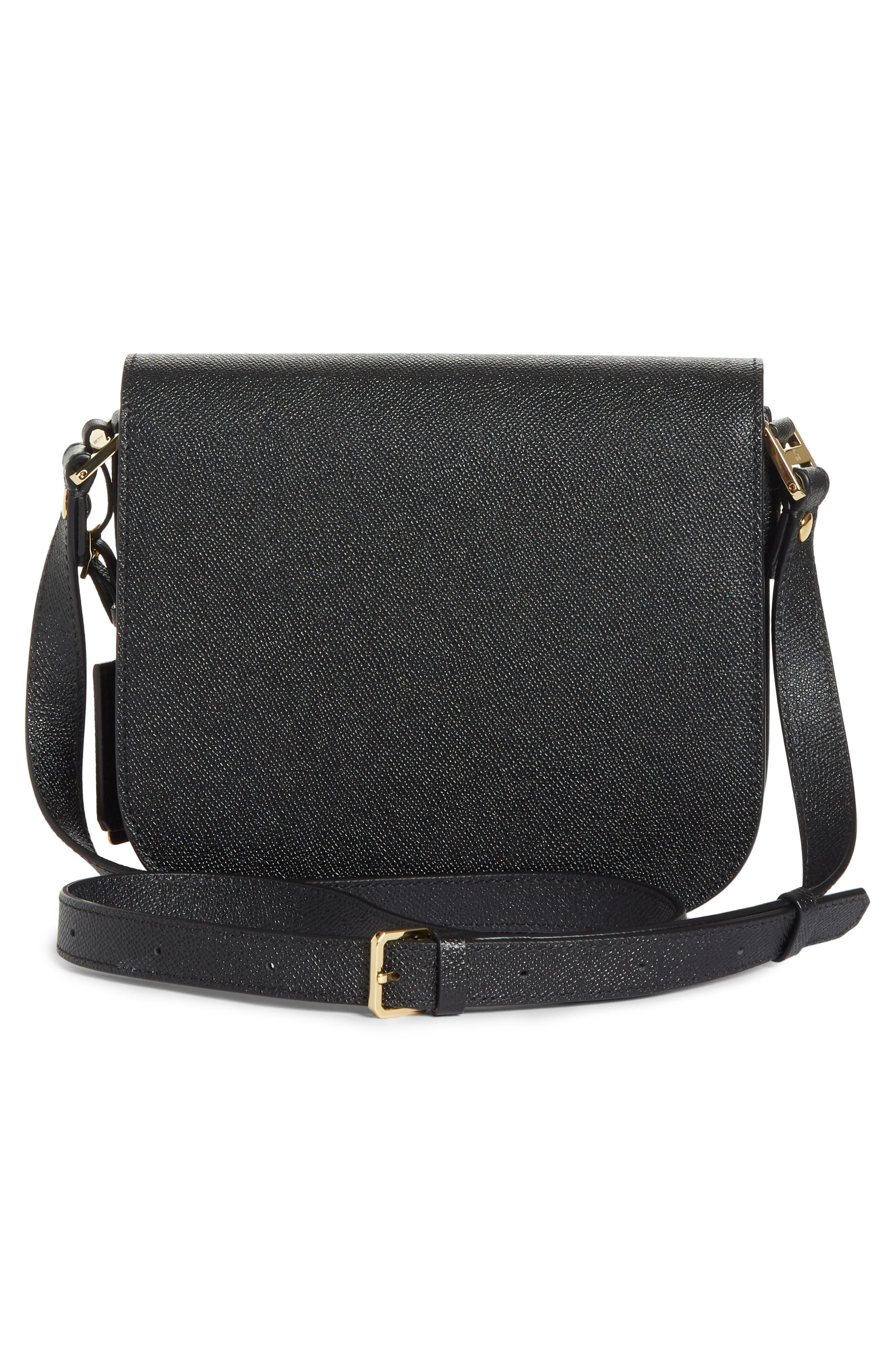 Small RGB Leather Shoulder Bag,                             Alternate thumbnail 3, color,                             BLACK