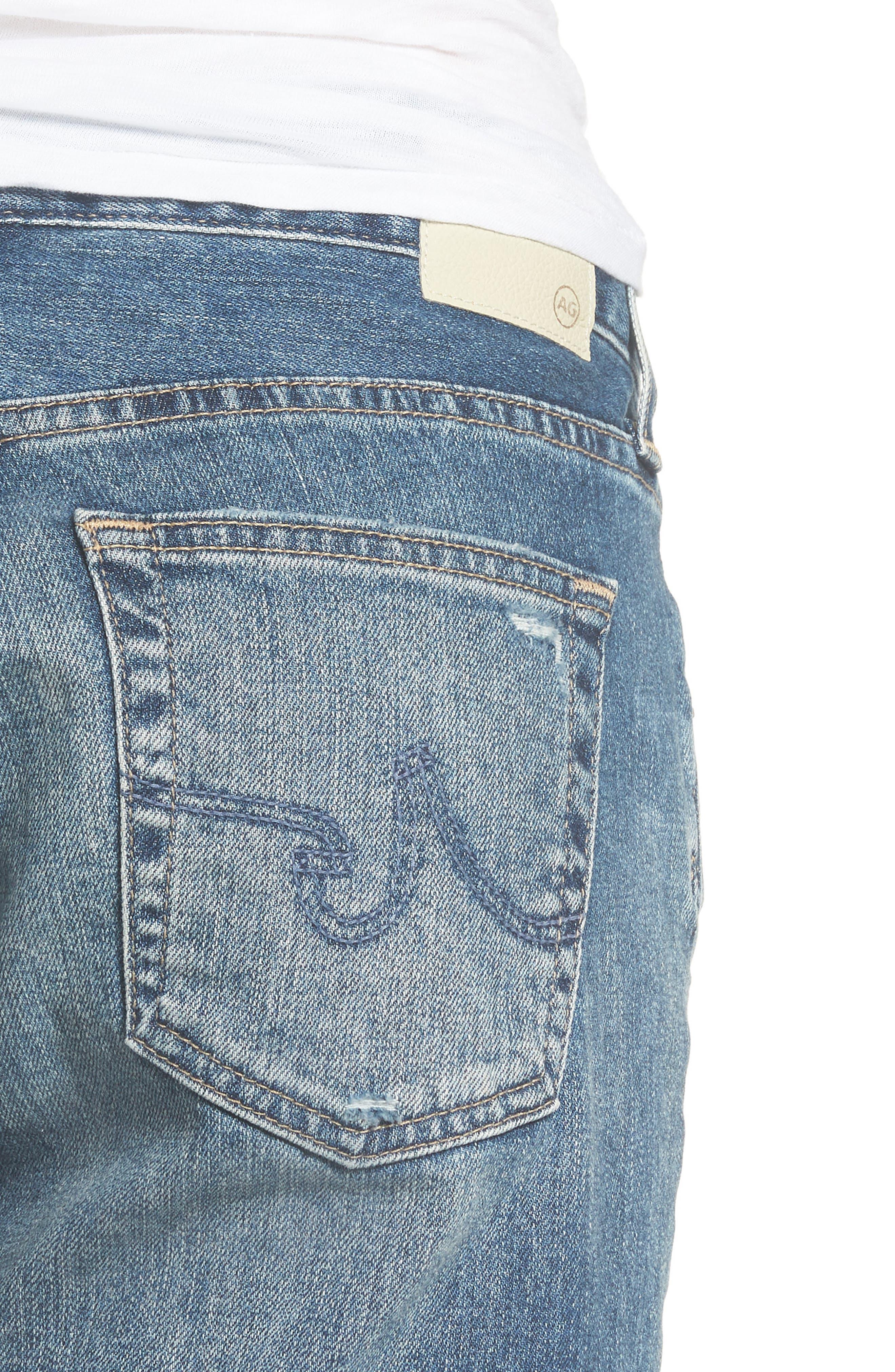 Nikki Cutoff Denim Shorts,                             Alternate thumbnail 4, color,                             20Y BRILLANCE