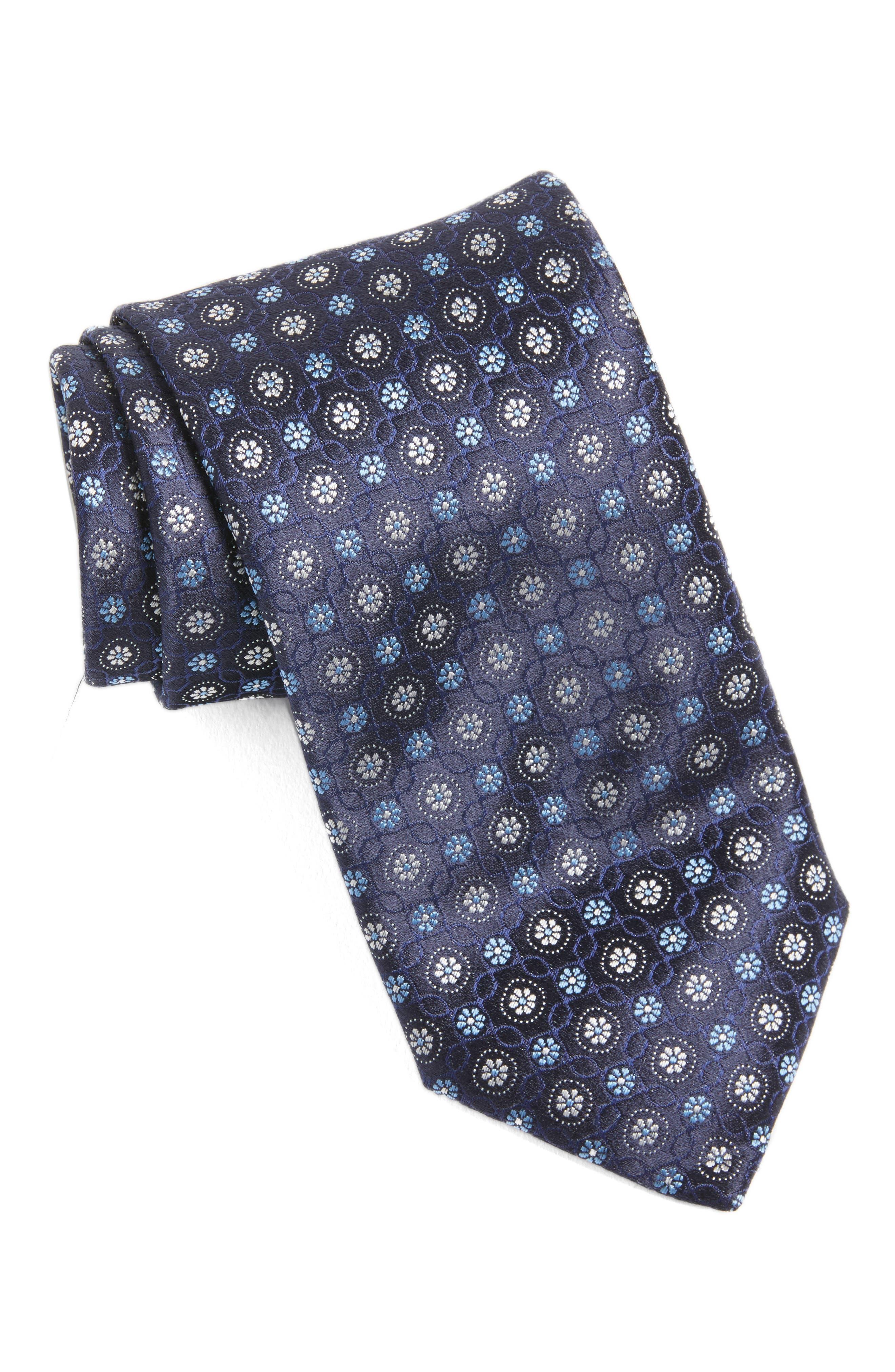 Medallion Silk Tie,                             Main thumbnail 1, color,                             410