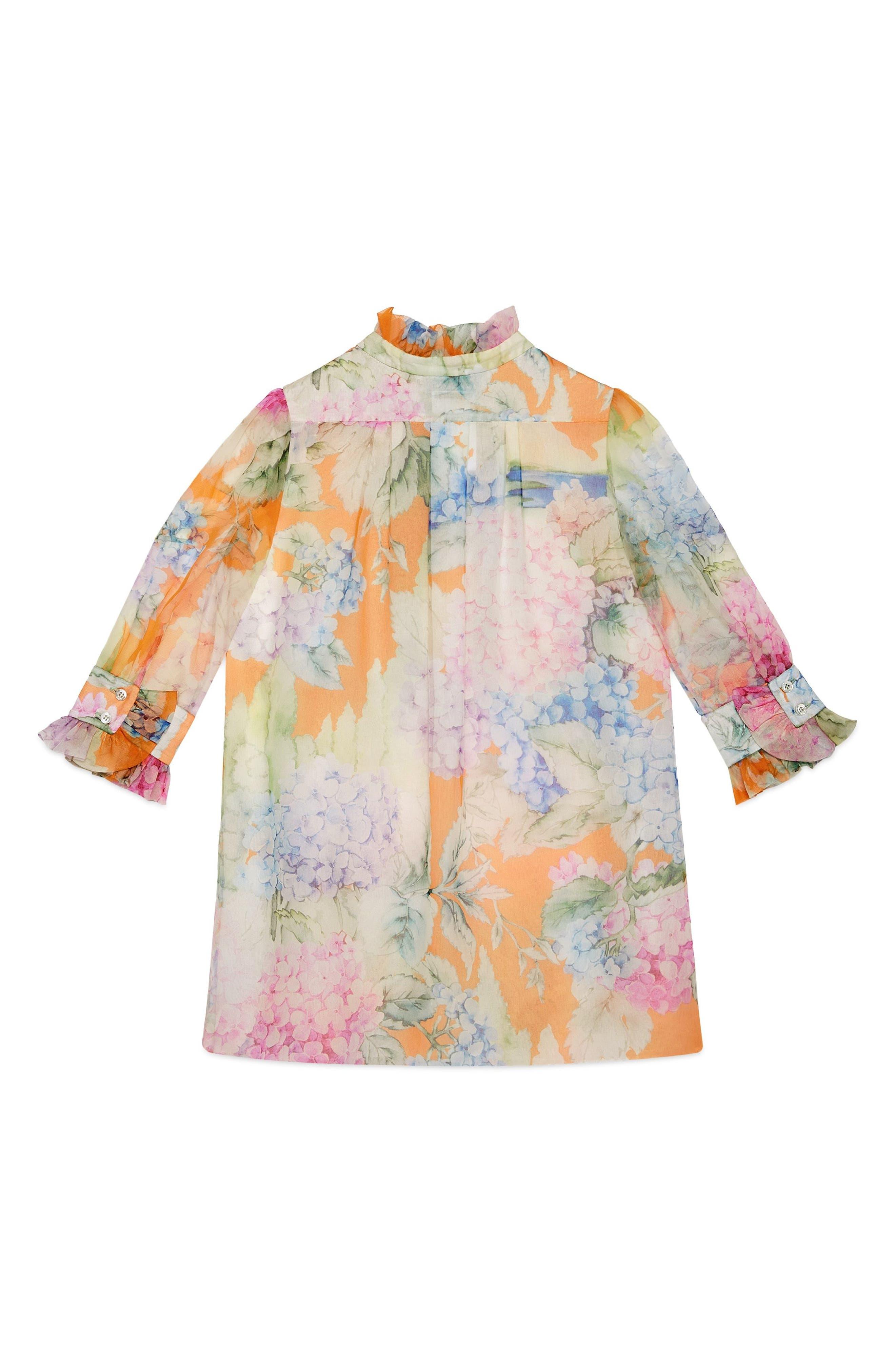 Flower Ruffle Silk Organza Dress,                         Main,                         color, 664
