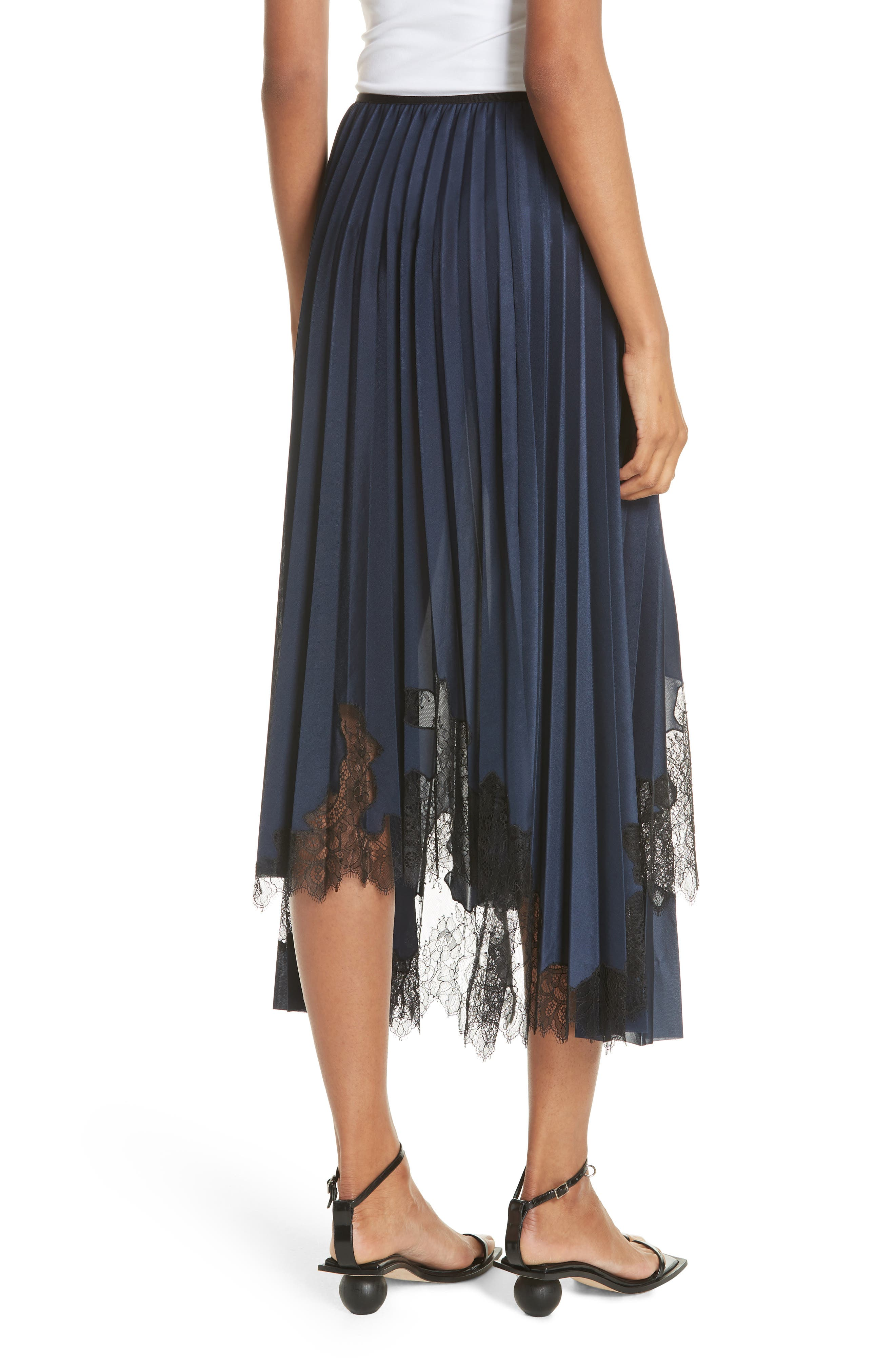 Pleated Lace Inset Skirt,                             Alternate thumbnail 2, color,                             BLUE