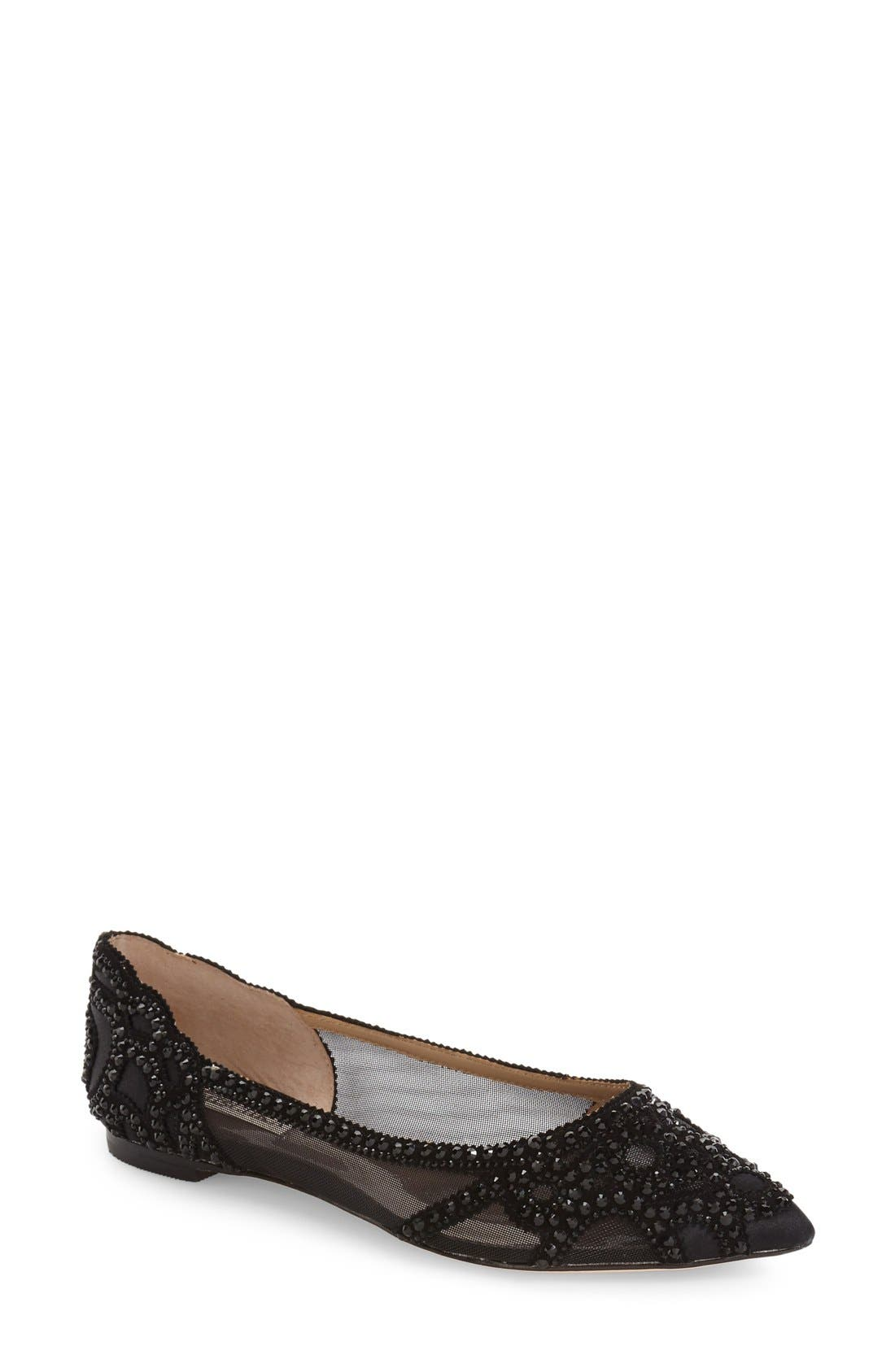 Gigi Crystal Pointy Toe Flat,                         Main,                         color, BLACK SATIN