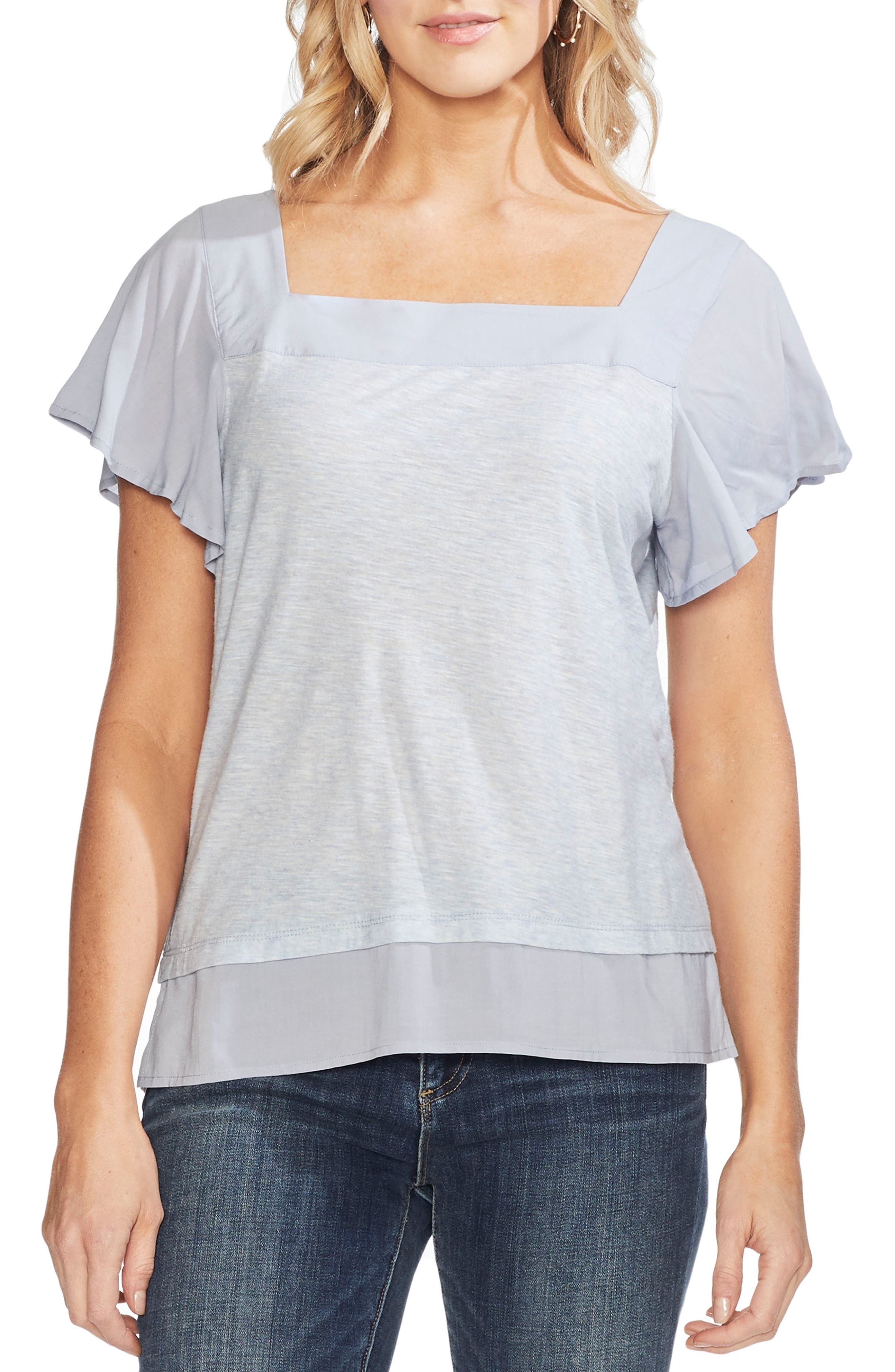 c0037f5221a0f Petite Vince Camuto Layered Look Flutter Sleeve Top