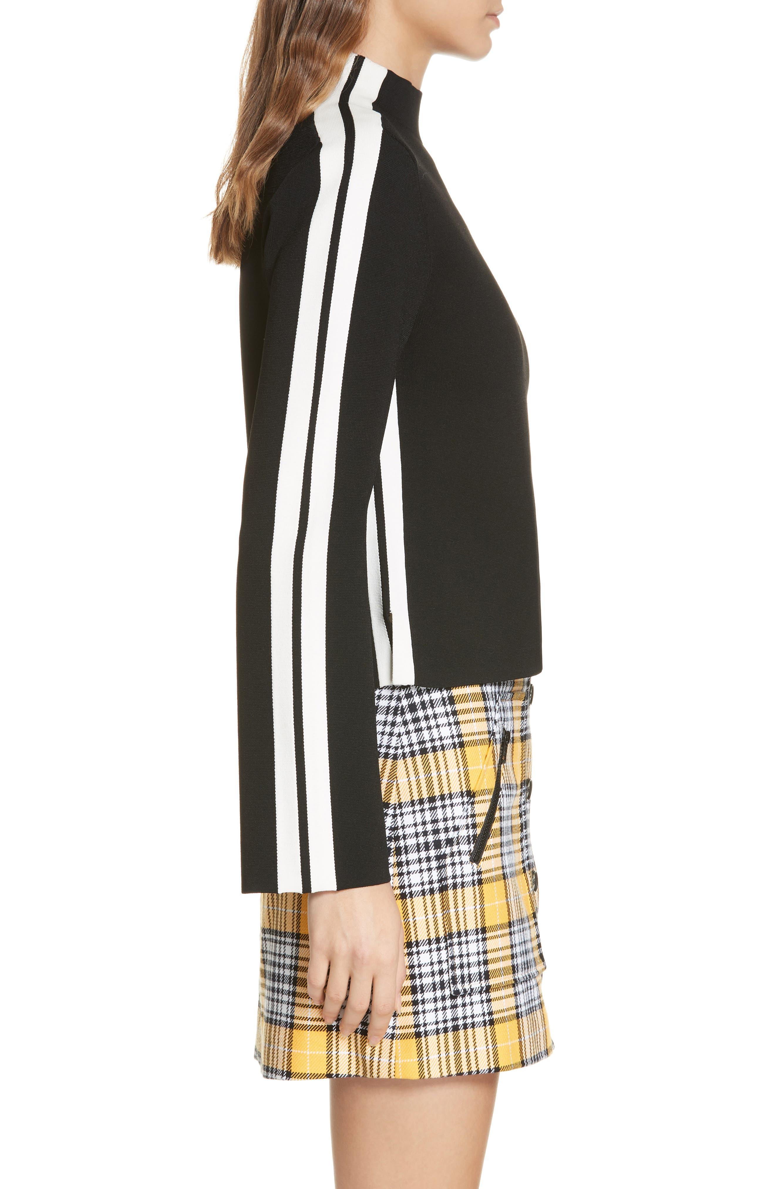 Retha Side Stripe Sweater,                             Alternate thumbnail 3, color,                             BLACK