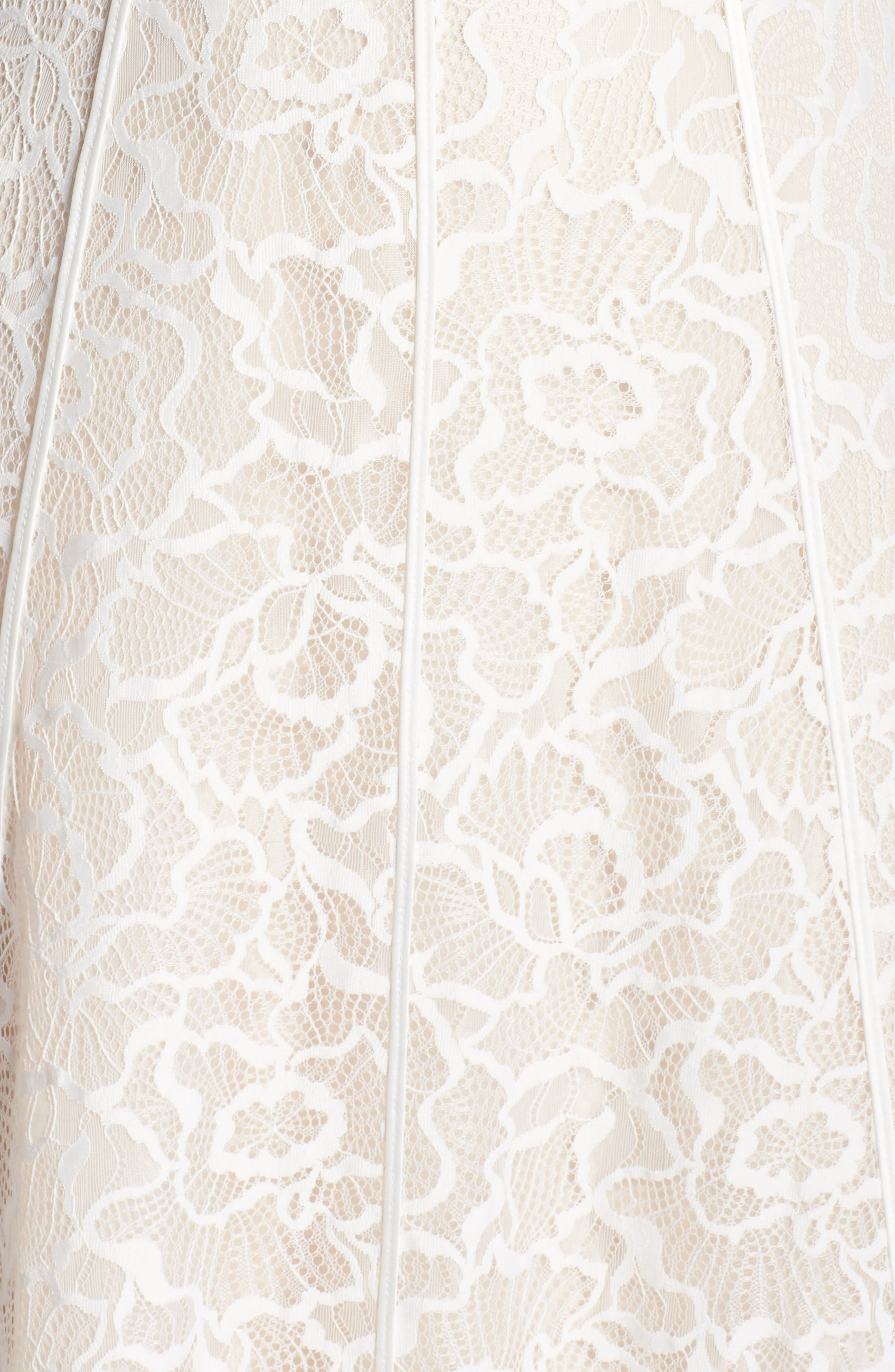Sheer Sleeve Lace A-Line Gown,                             Alternate thumbnail 5, color,                             IVORY/ PETAL