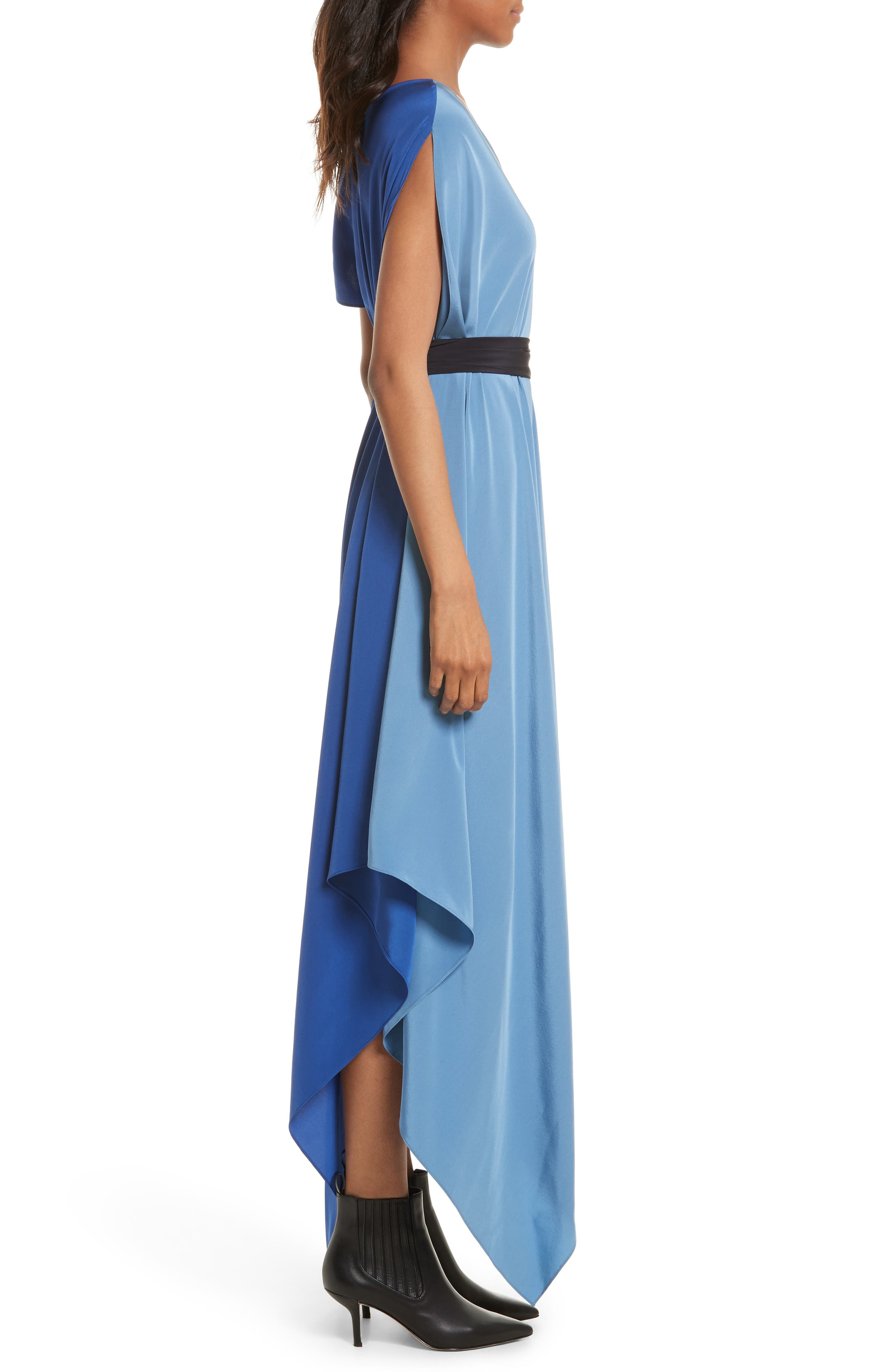 Handkerchief Hem Silk Scarf Dress,                             Alternate thumbnail 3, color,                             400