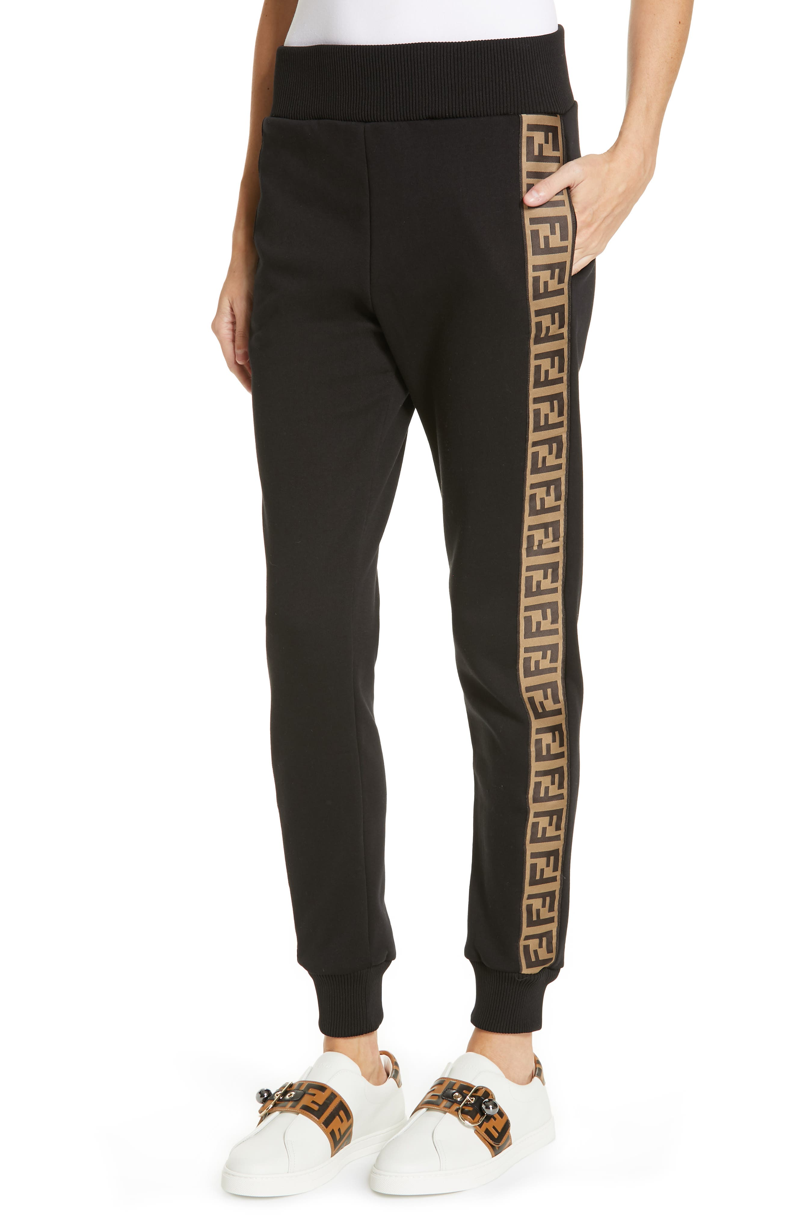 FENDI,                             x FILA Mania Logo Jersey Track Pants,                             Alternate thumbnail 4, color,                             BLACK