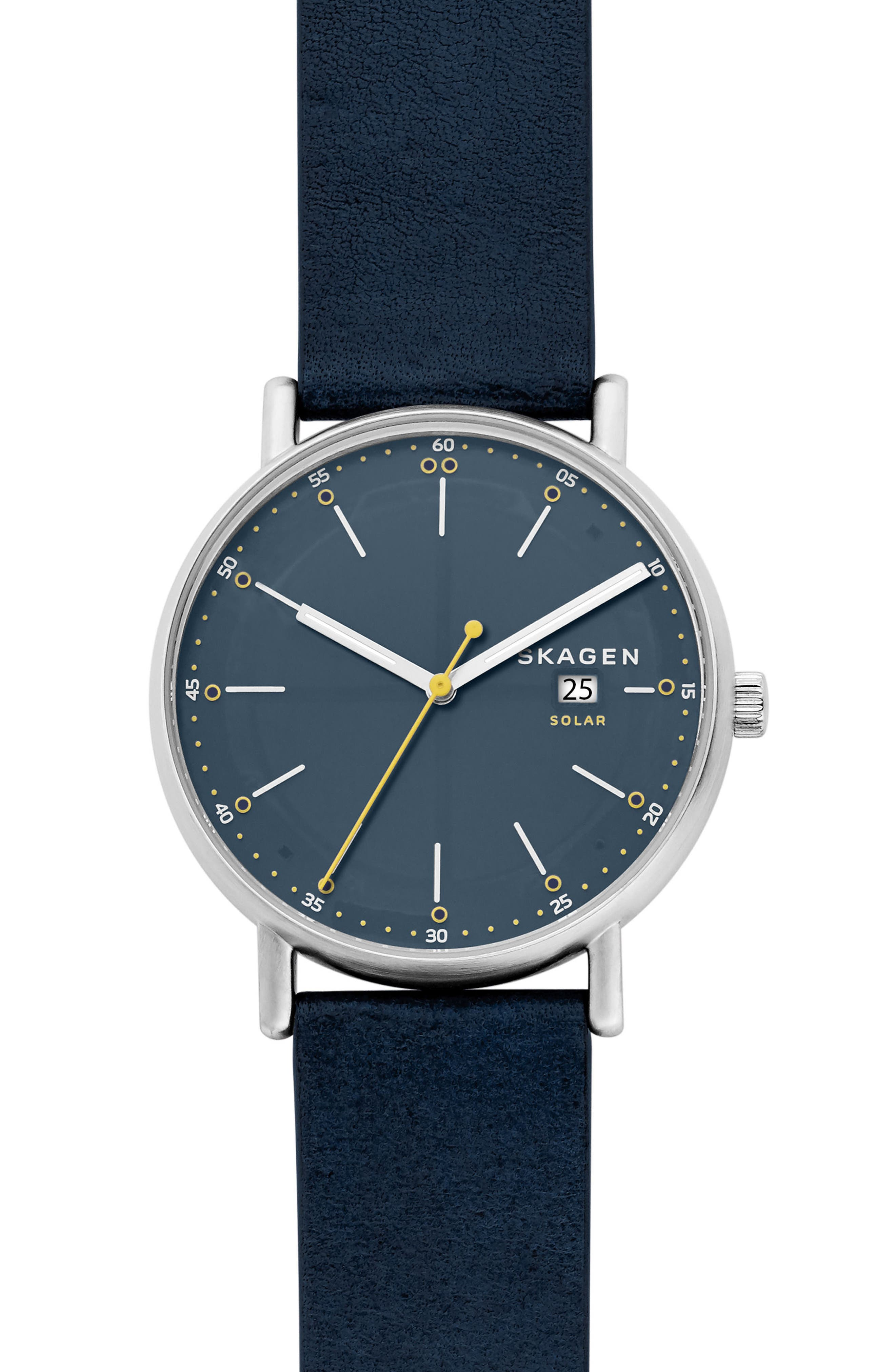 Signatur Solar Powered Leather Strap Watch, 40mm,                         Main,                         color, BLUE/ SILVER
