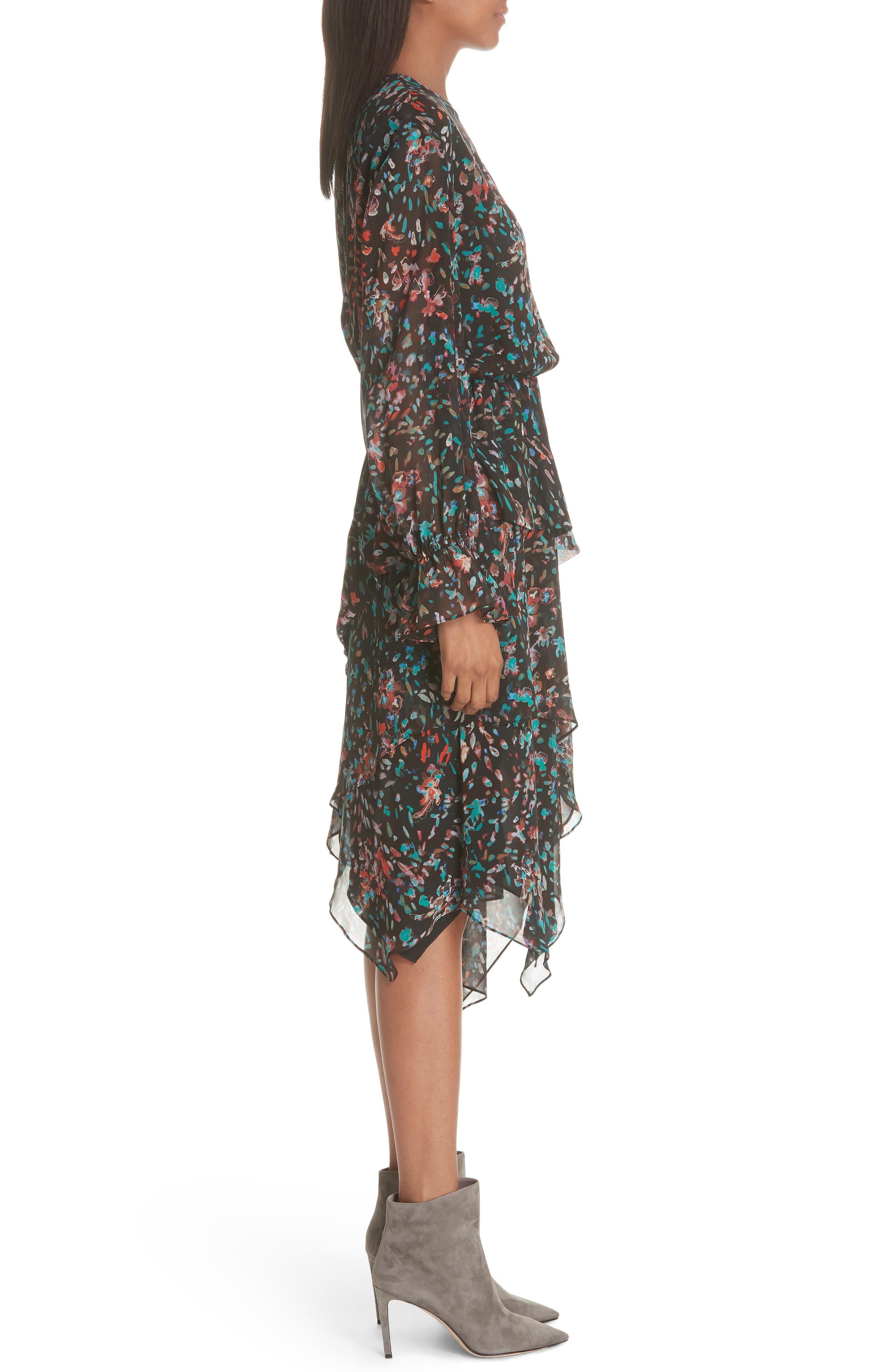 Print Asymmetrical Dress,                             Alternate thumbnail 3, color,                             BLACK