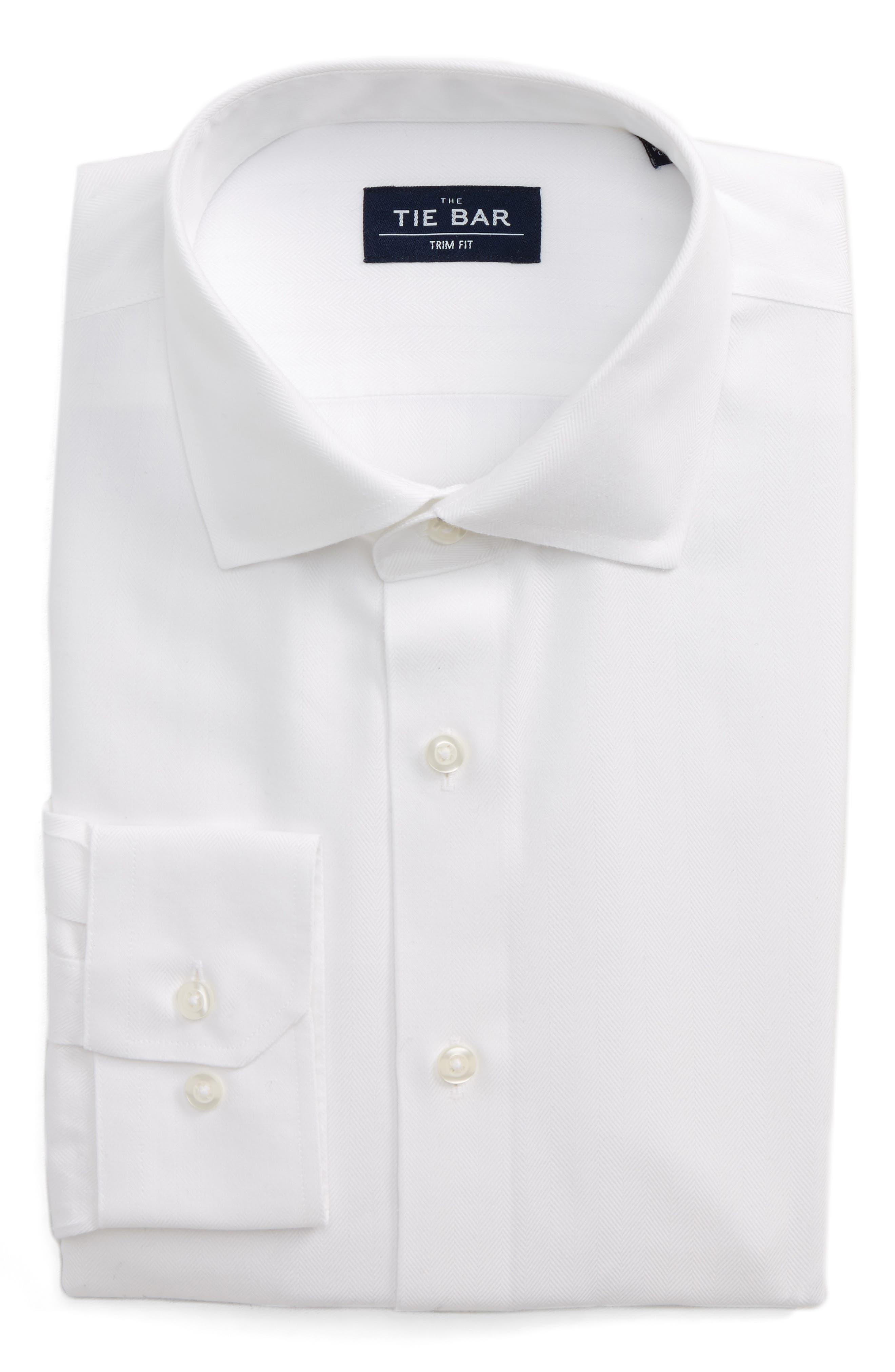 Trim Fit Herringbone Dress Shirt,                         Main,                         color, WHITE