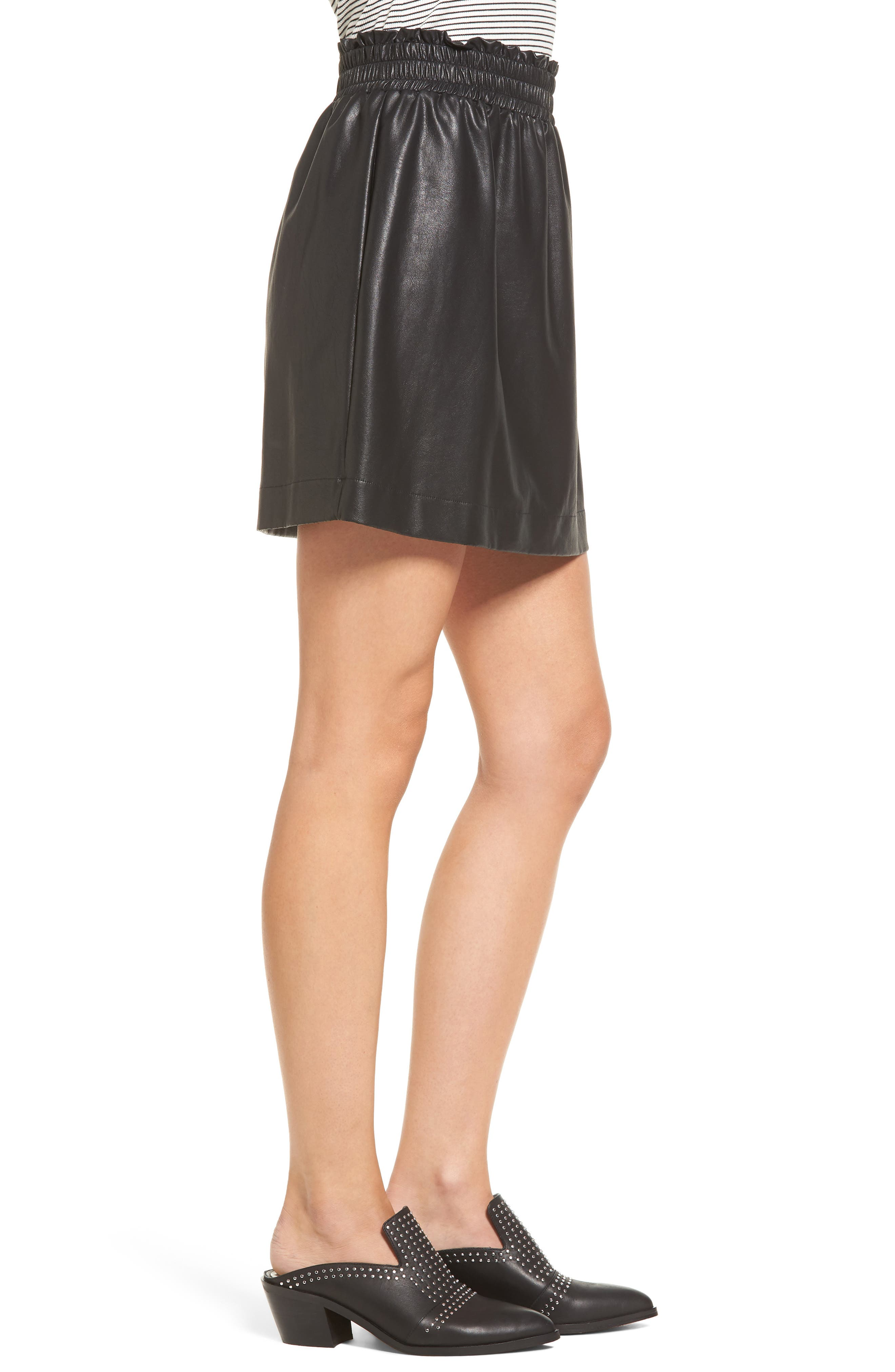 Faux Leather Paperbag Skirt,                             Alternate thumbnail 3, color,                             001