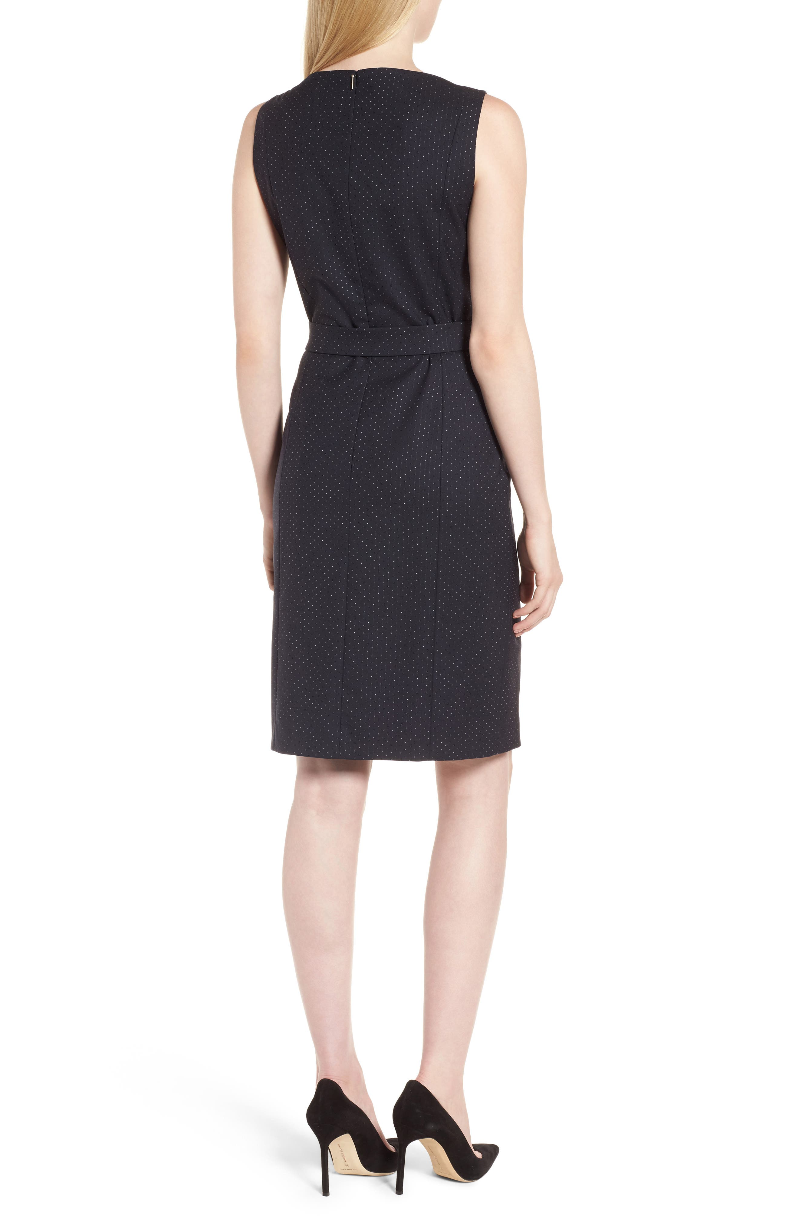 Dinalia Mini Dot Belted Wool Sheath Dress,                             Alternate thumbnail 2, color,                             461