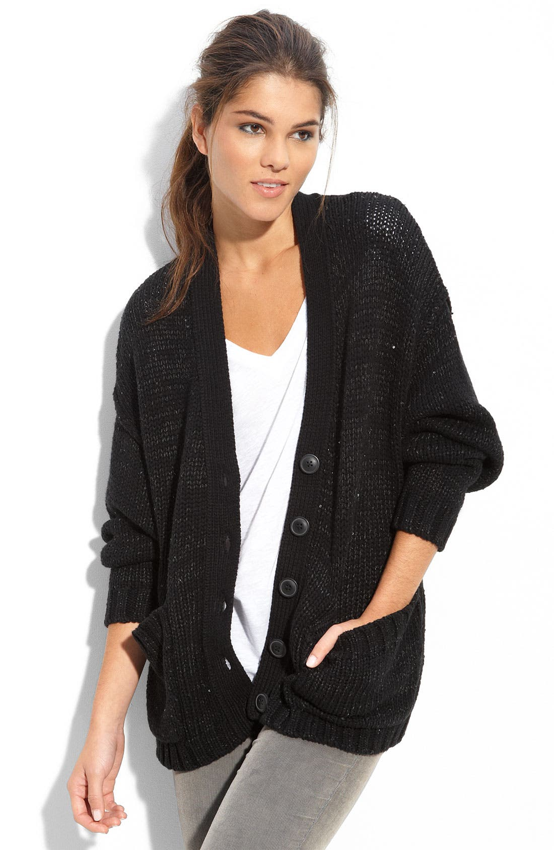 Long Sleeve Boxy Sequin Cardigan, Main, color, 001