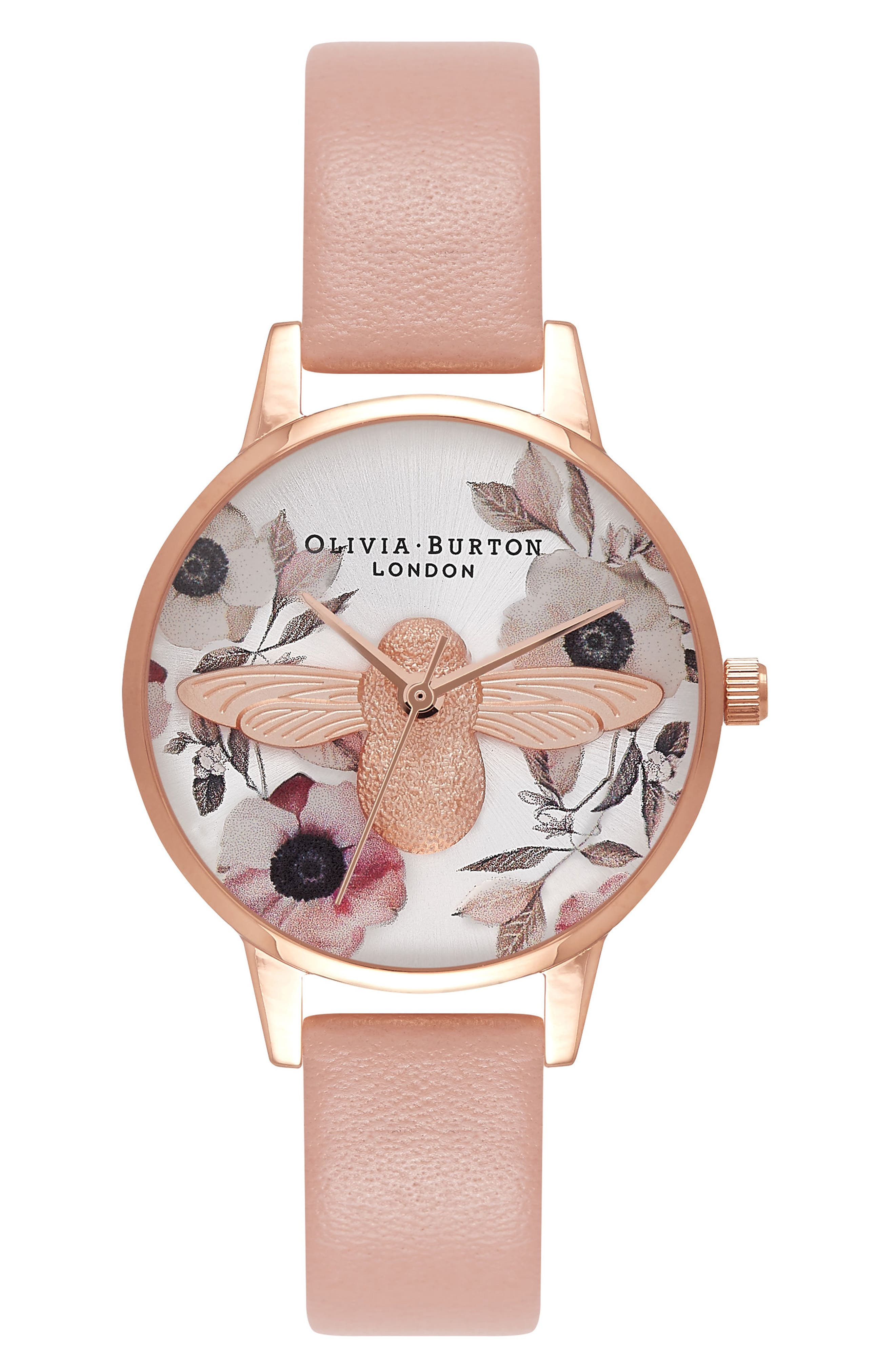 Bee Leather Strap Watch, 30mm,                             Main thumbnail 2, color,
