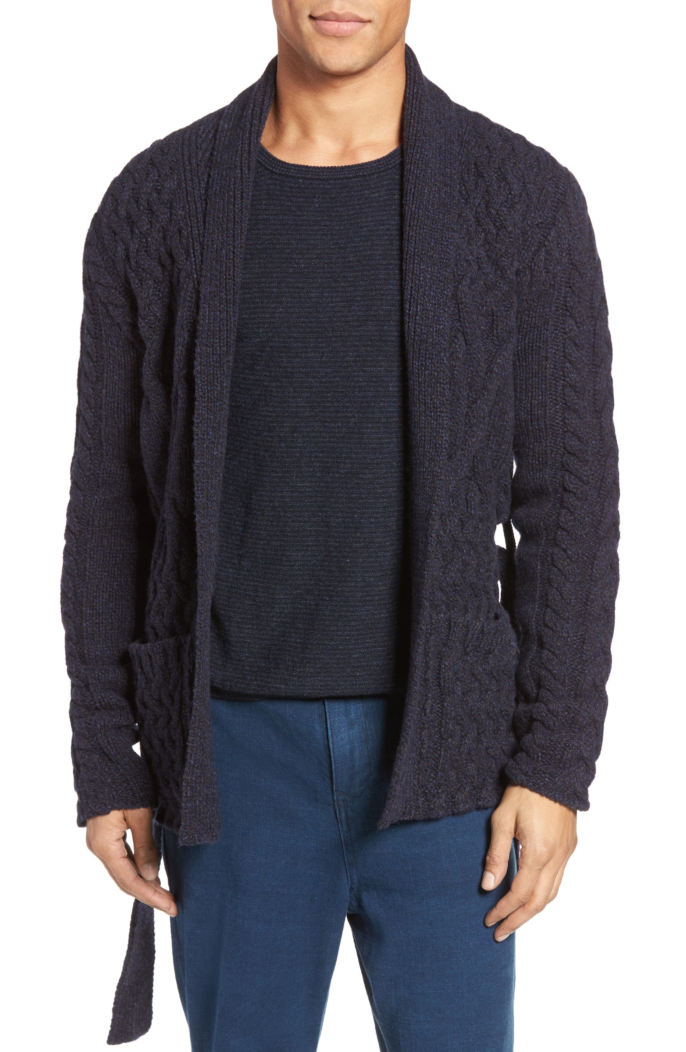 EIDOS Napoli Cable Knit Wool Cardigan, Main, color, 405