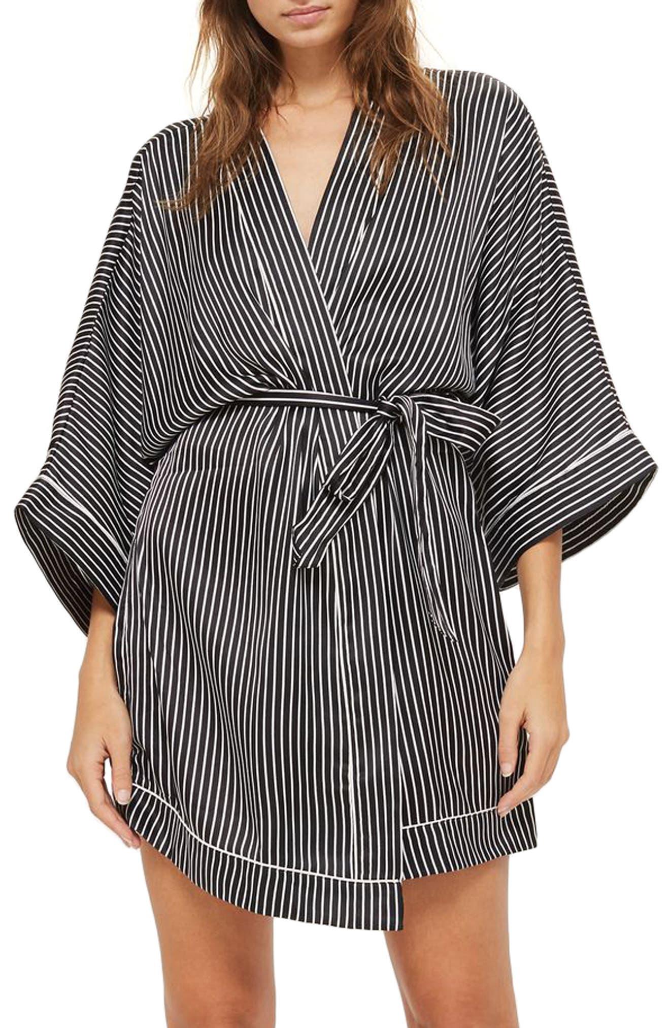 Stripe Satin Robe,                         Main,                         color, 001