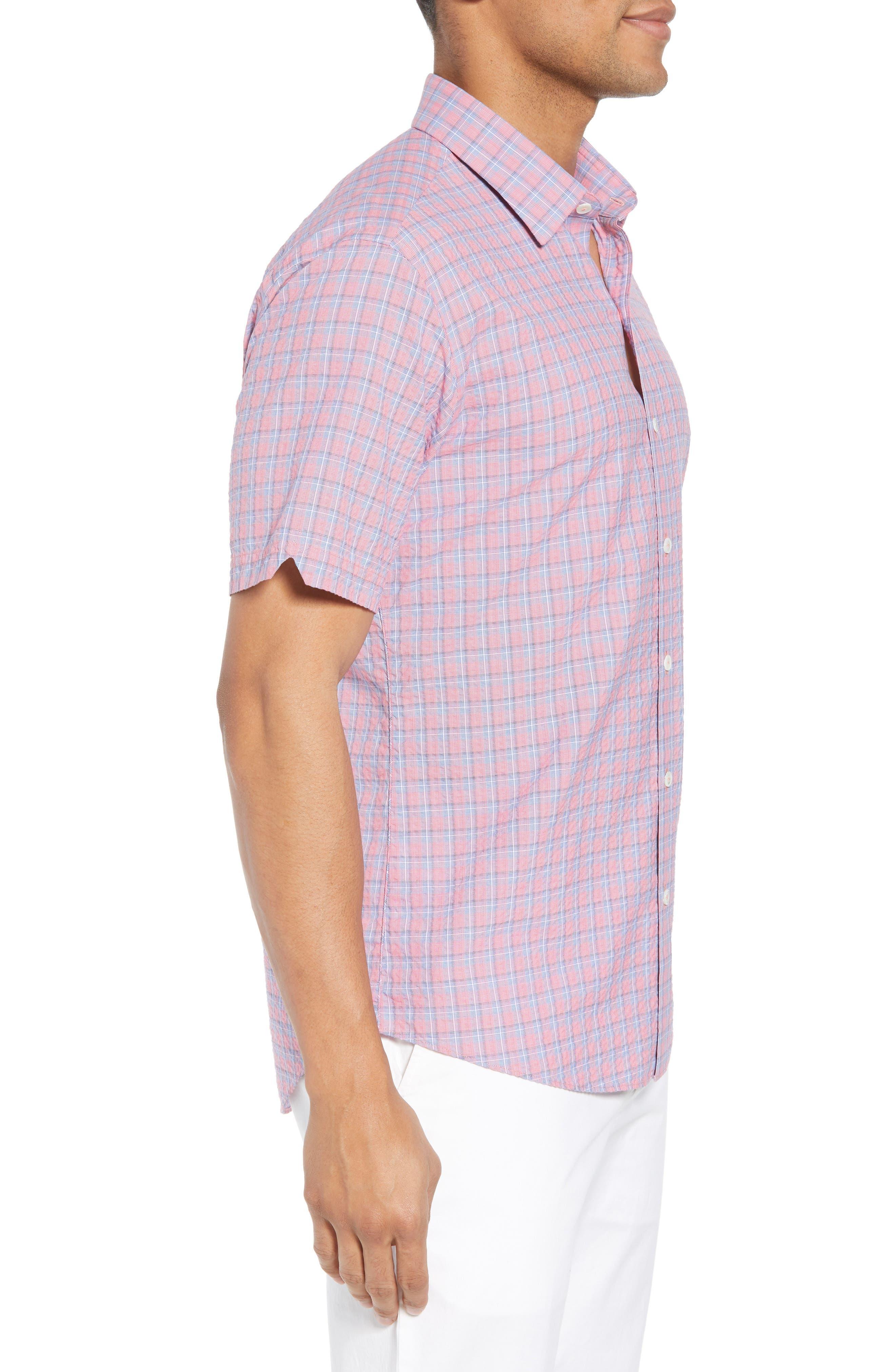 Luna Trim Fit Seersucker Sport Shirt,                             Alternate thumbnail 3, color,                             632
