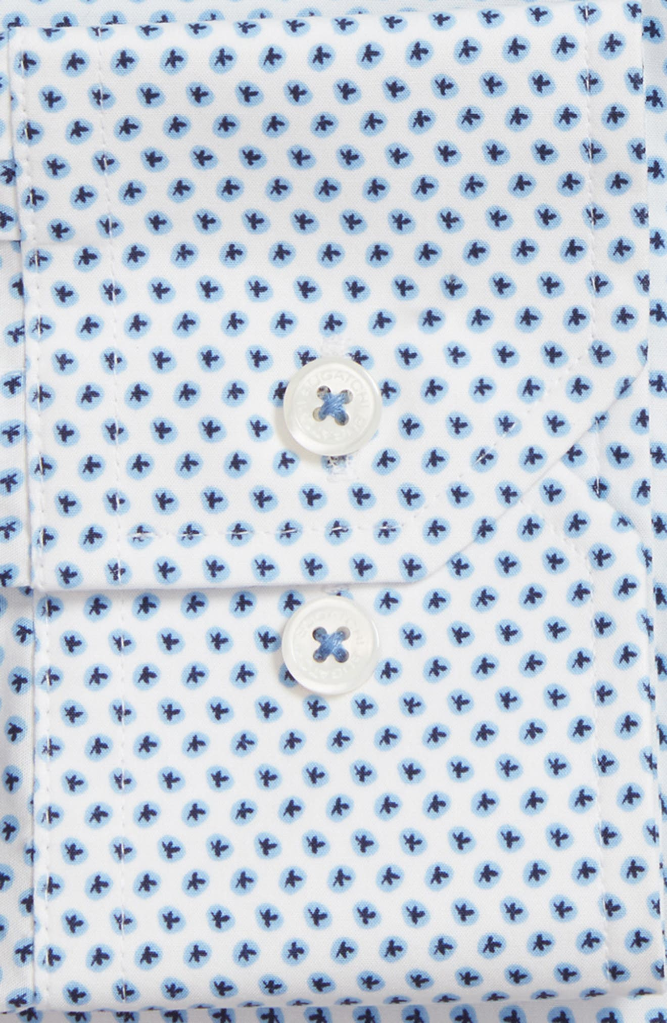 Trim Fit Print Dress Shirt,                             Alternate thumbnail 2, color,                             NAVY