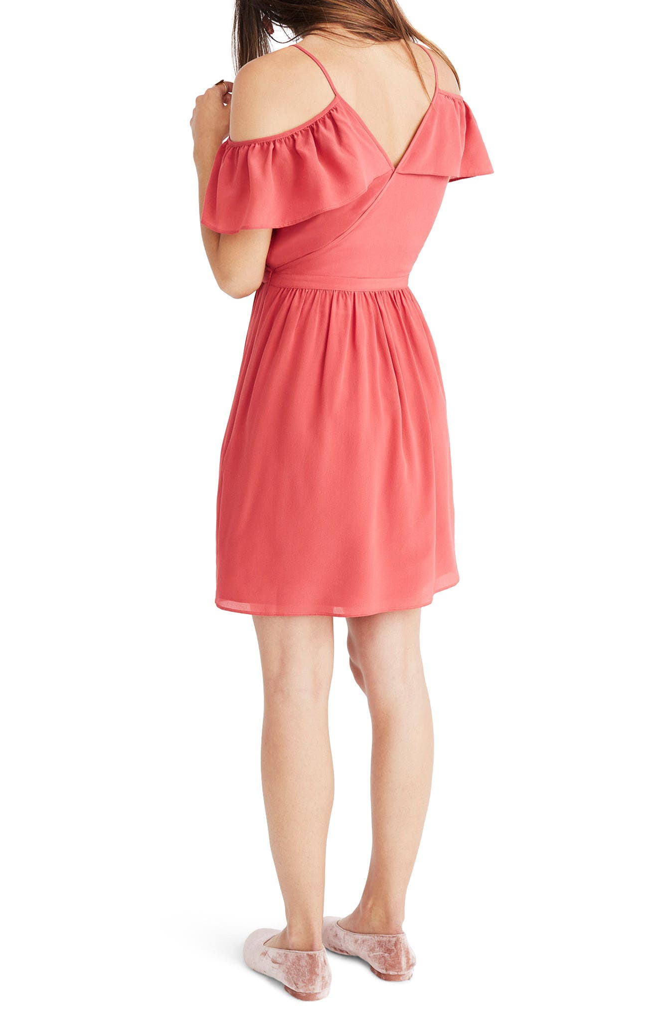 Ruffle Cold Shoulder Silk Dress,                             Alternate thumbnail 3, color,