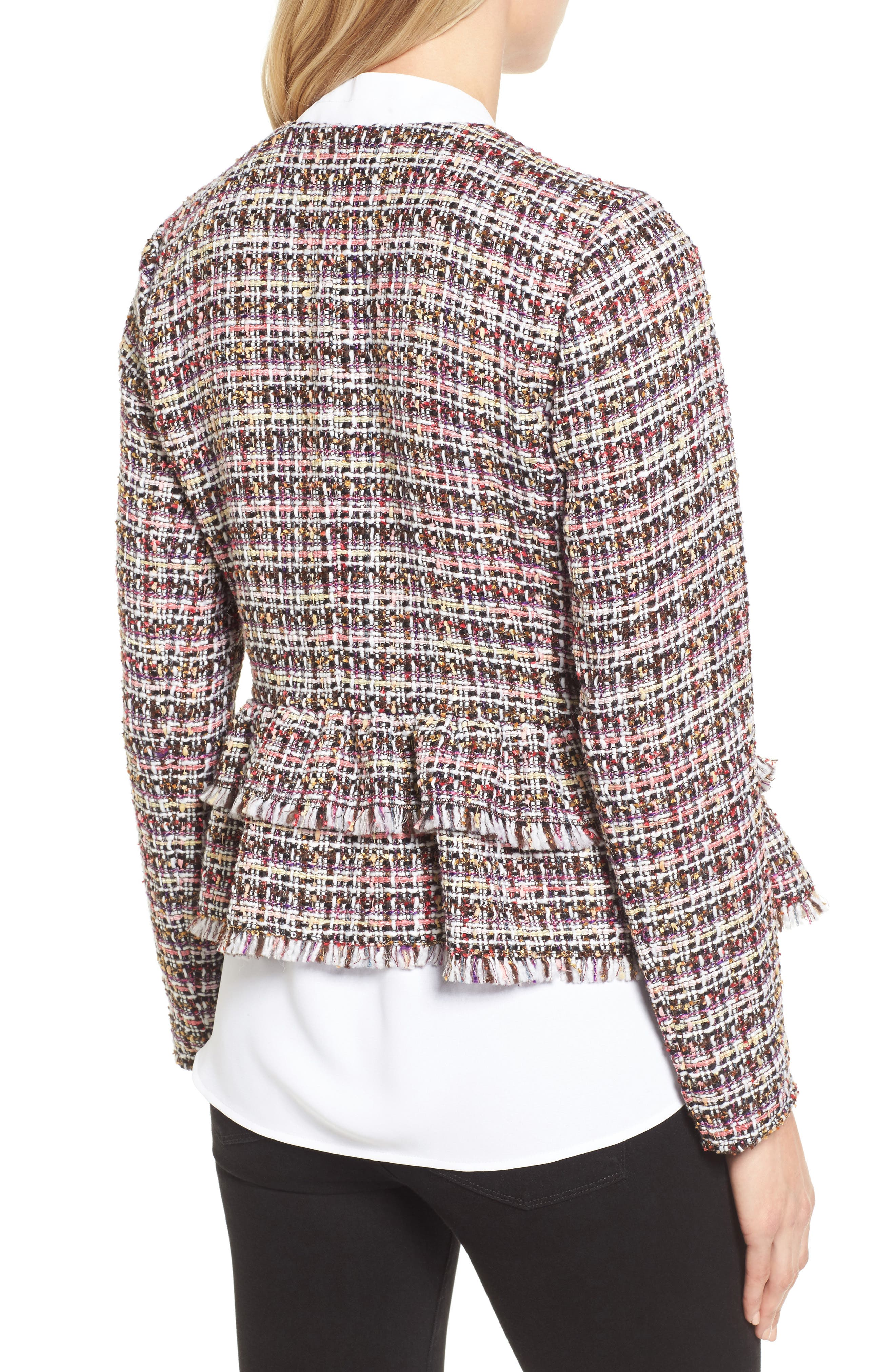 Ruffle Detail Tweed Jacket,                             Alternate thumbnail 2, color,                             660
