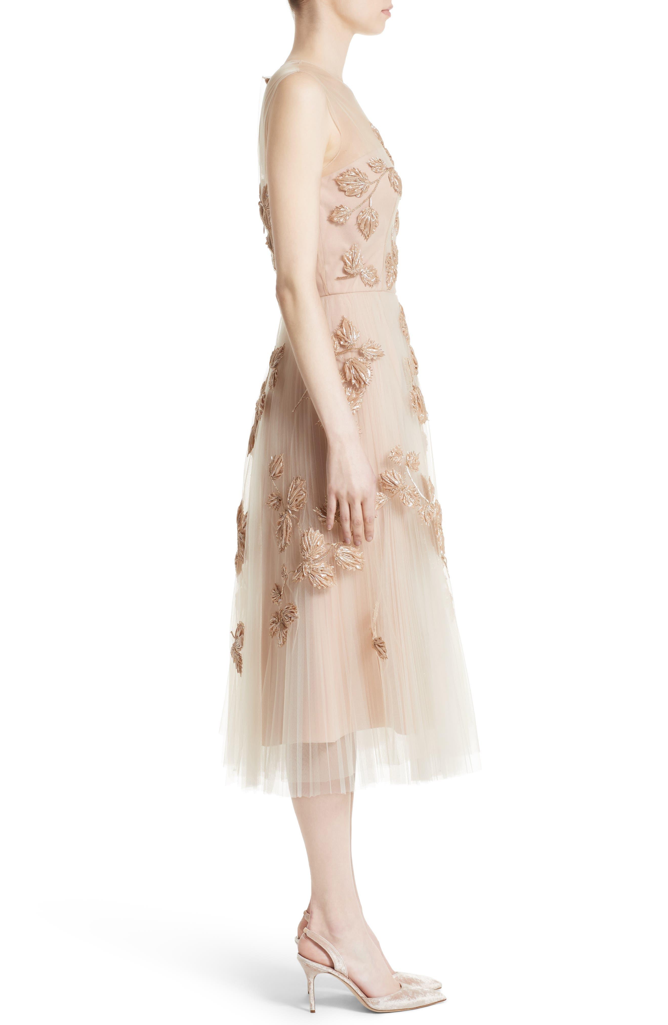 Sequin Leaf Tulle Midi Dress,                             Alternate thumbnail 3, color,                             650