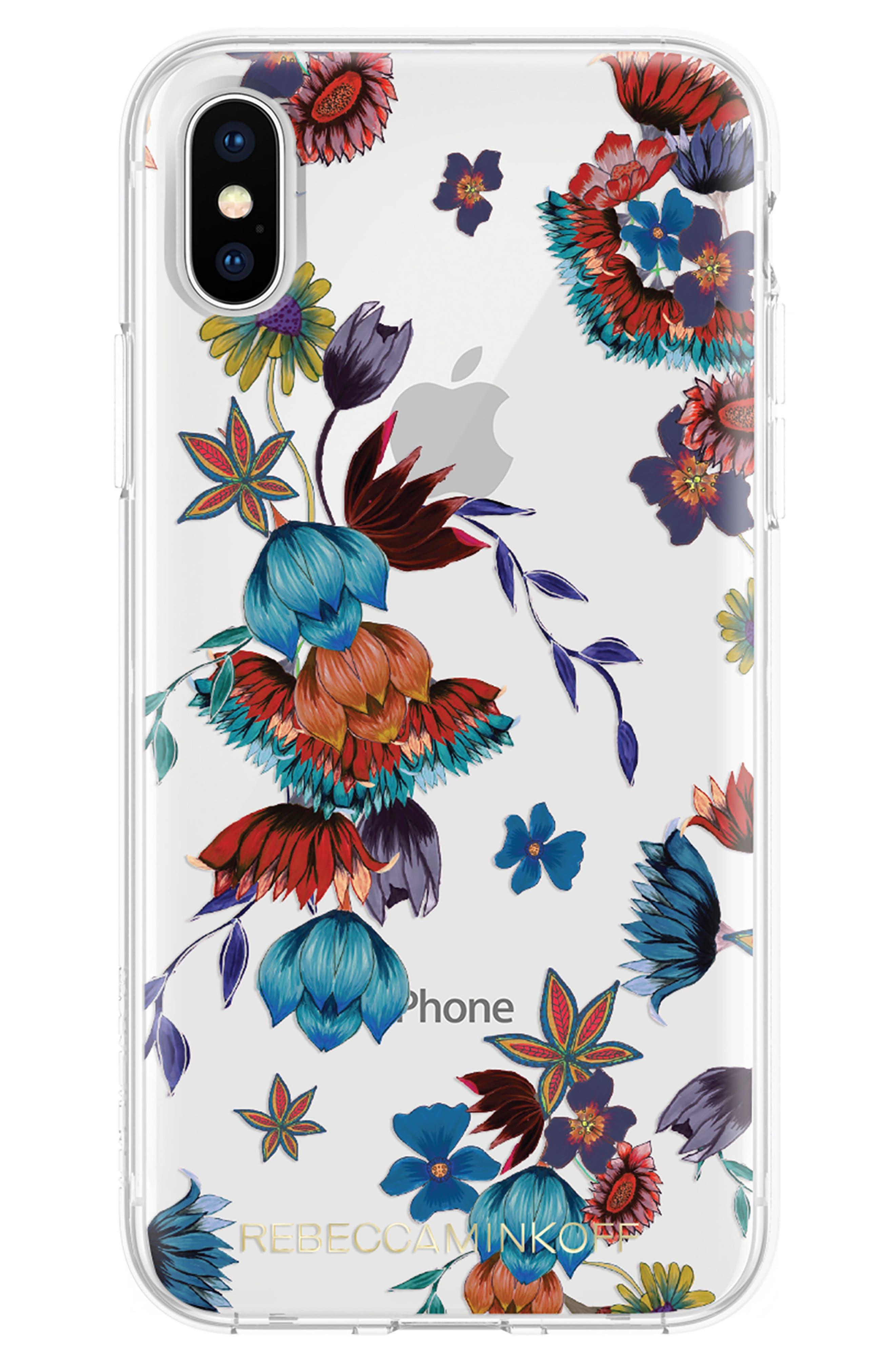 Punk Floral iPhone X/Xs Case,                             Main thumbnail 1, color,                             CLEAR / MULTI / GOLD FOIL