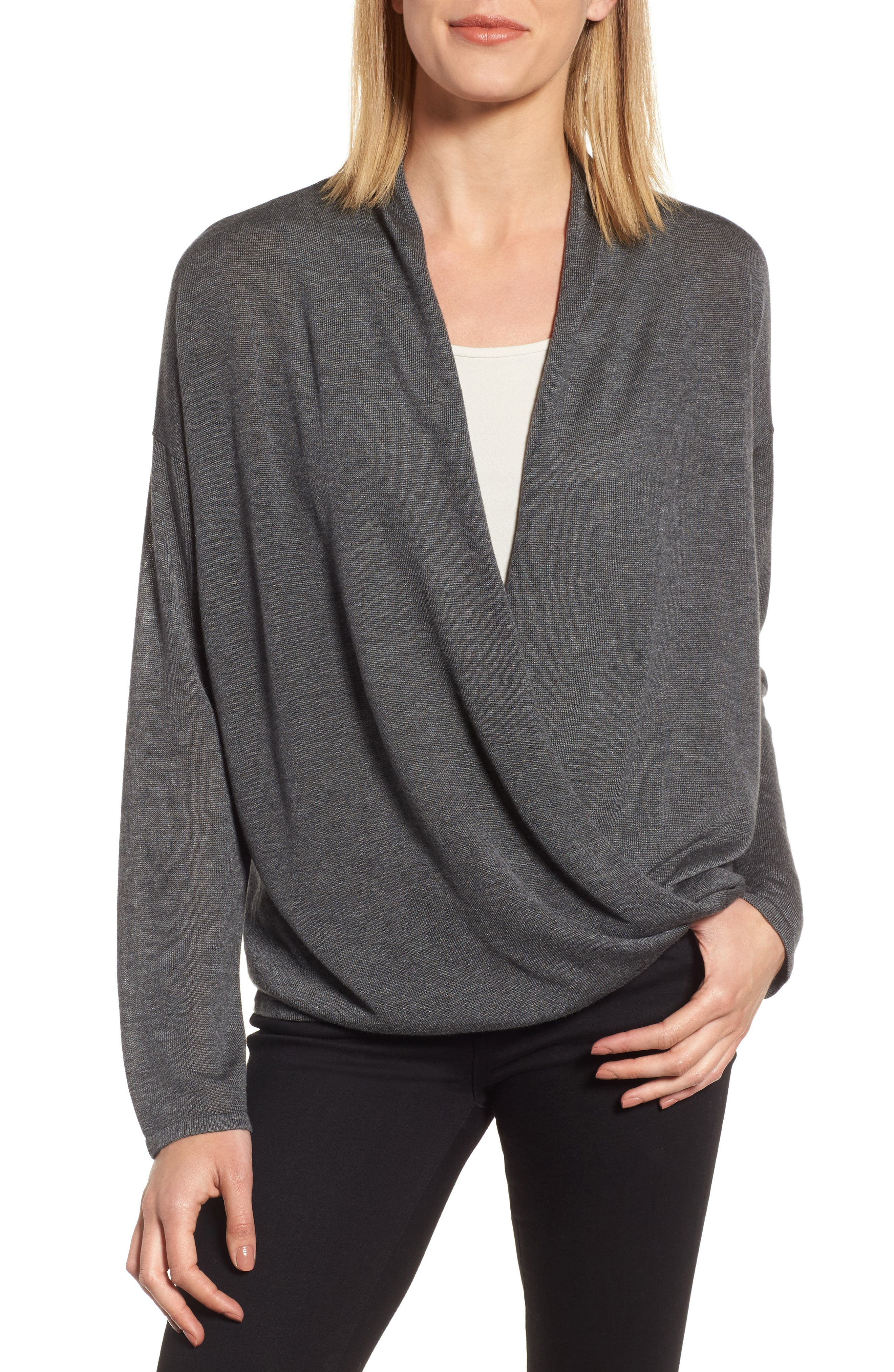 Faux Wrap Tencel<sup>®</sup> Lyocell & Merino Wool Sweater,                             Main thumbnail 2, color,