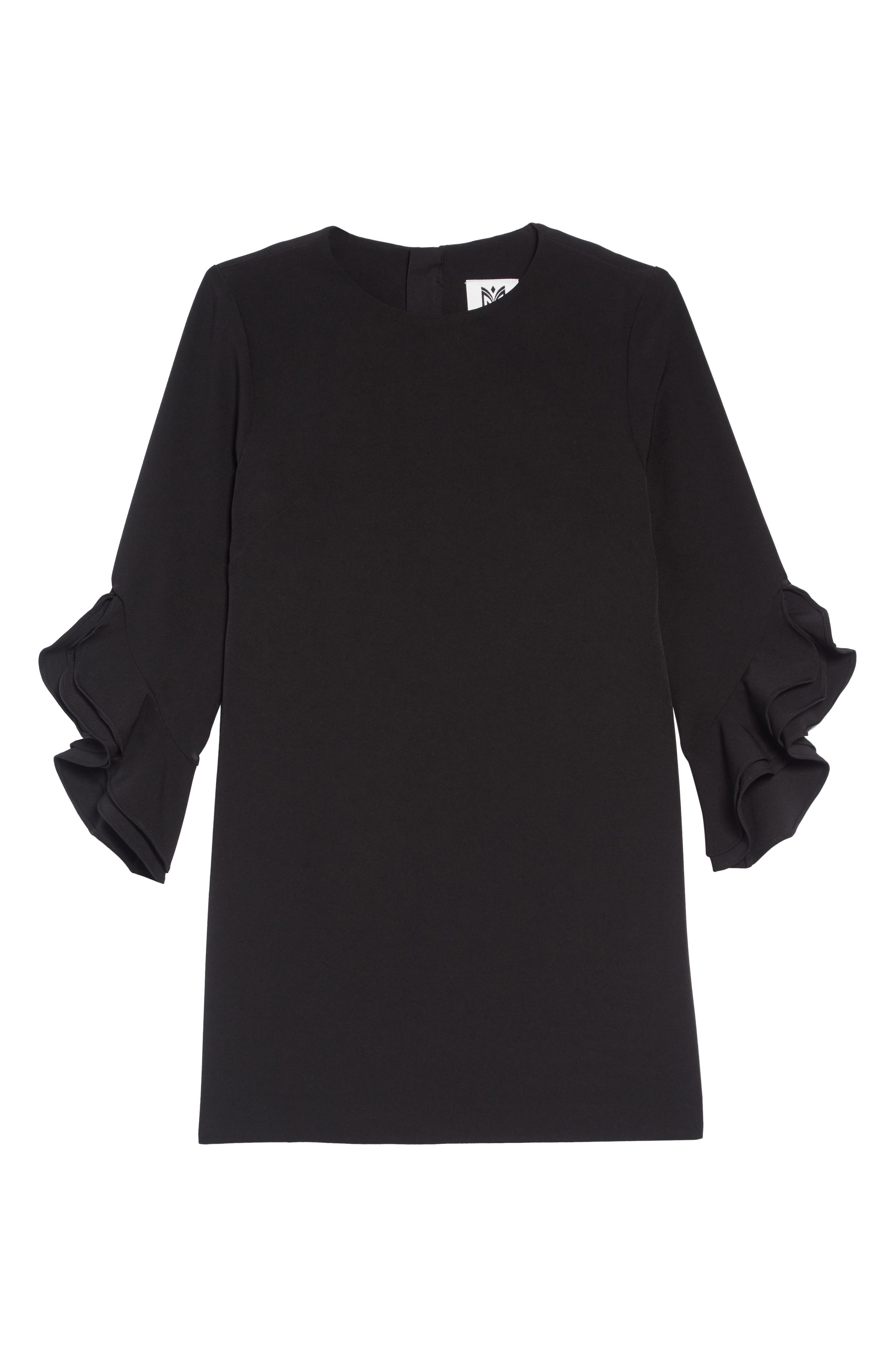 Angie Ruffle Cuff Dress,                         Main,                         color, BLACK