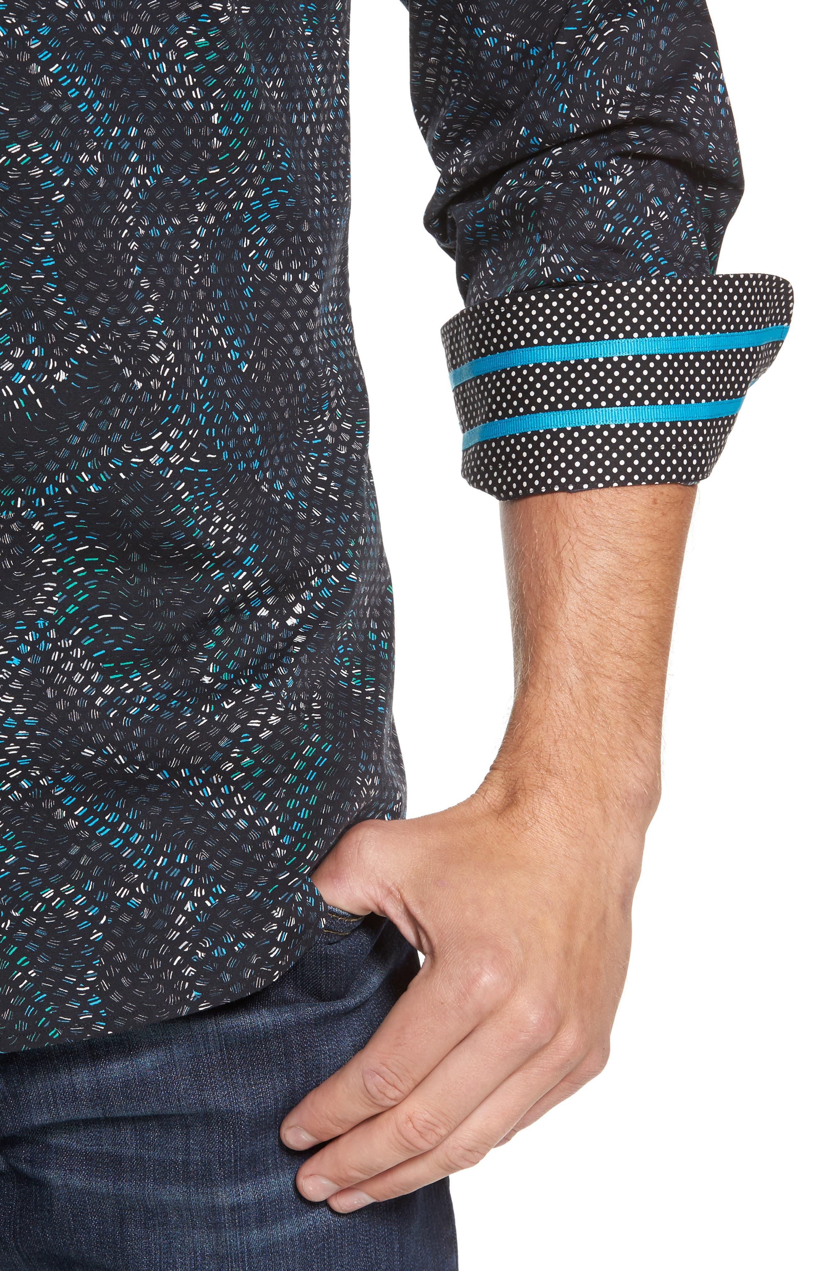 Slim Fit Scale FX Print Sport Shirt,                             Alternate thumbnail 4, color,                             420