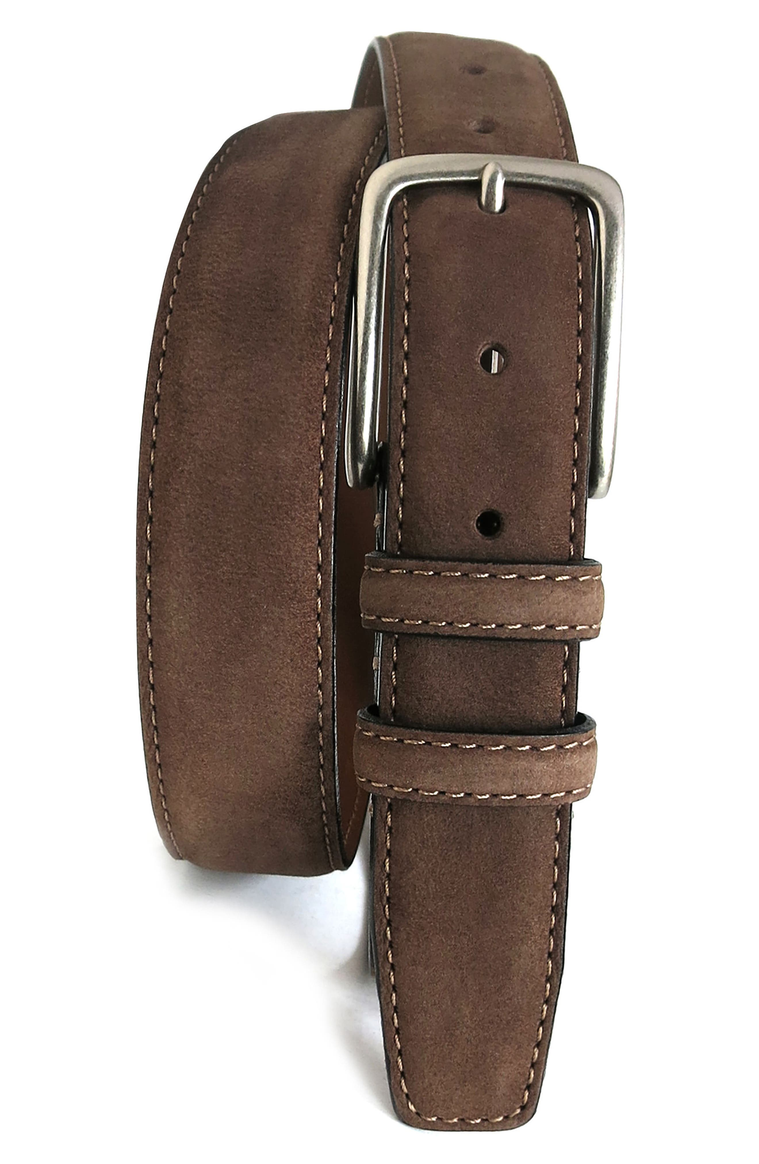 'Tyler' Double Stitched Suede Belt,                             Main thumbnail 1, color,                             BROWN