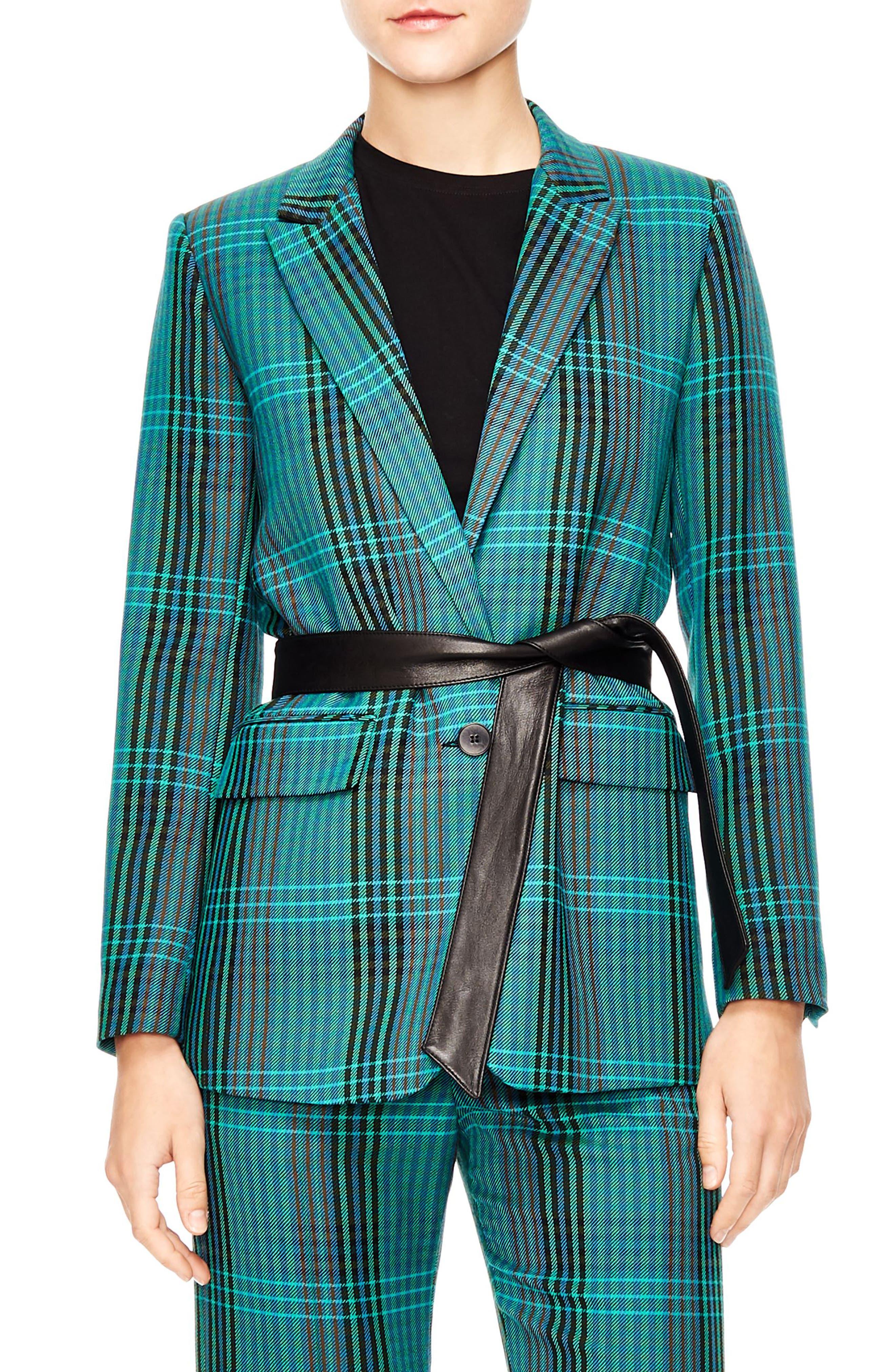 Bruce Belted Plaid Suit Jacket,                         Main,                         color, MULTI