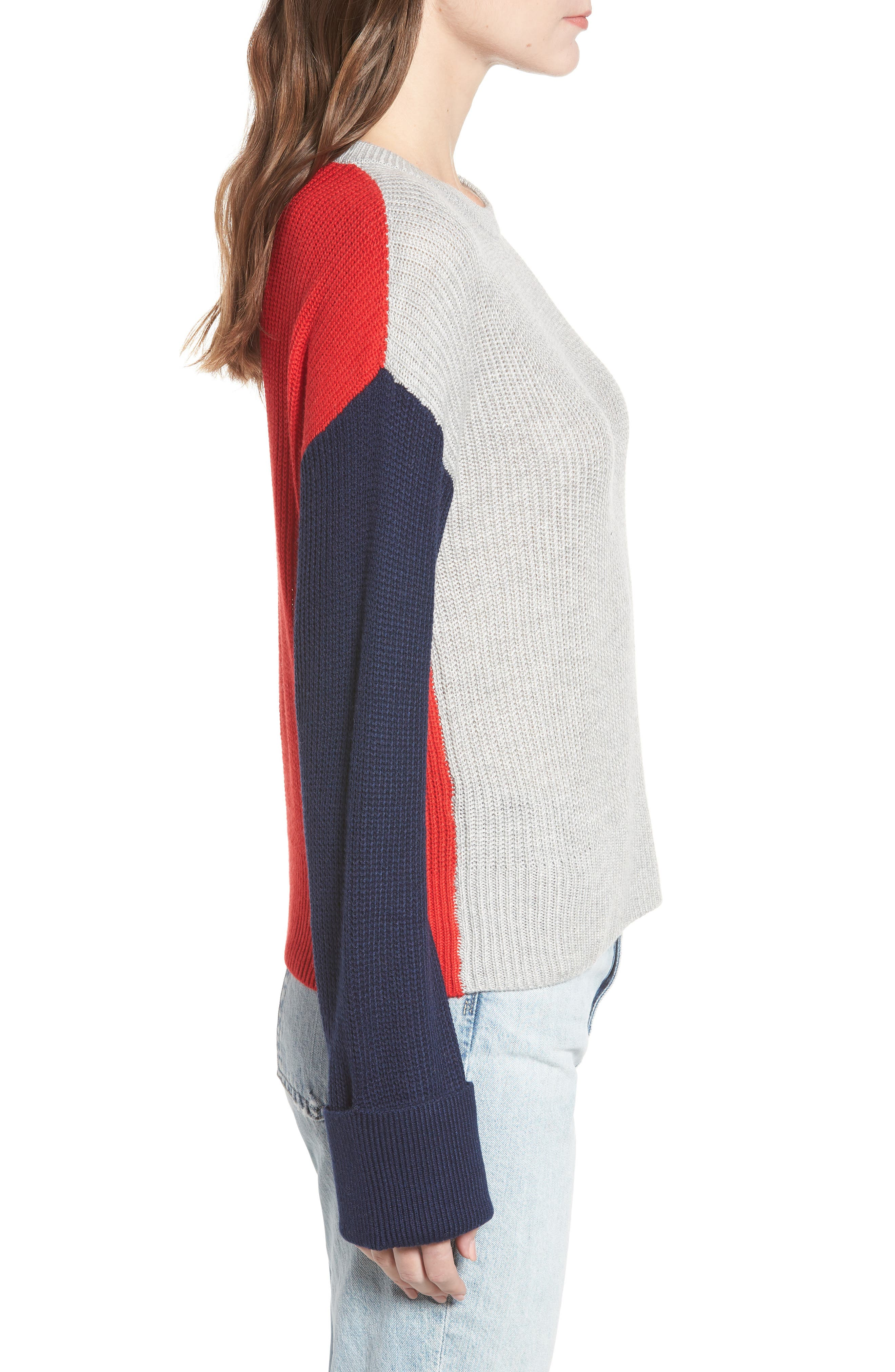 Colorblock Sweater,                             Alternate thumbnail 3, color,                             GREY/ NAVY
