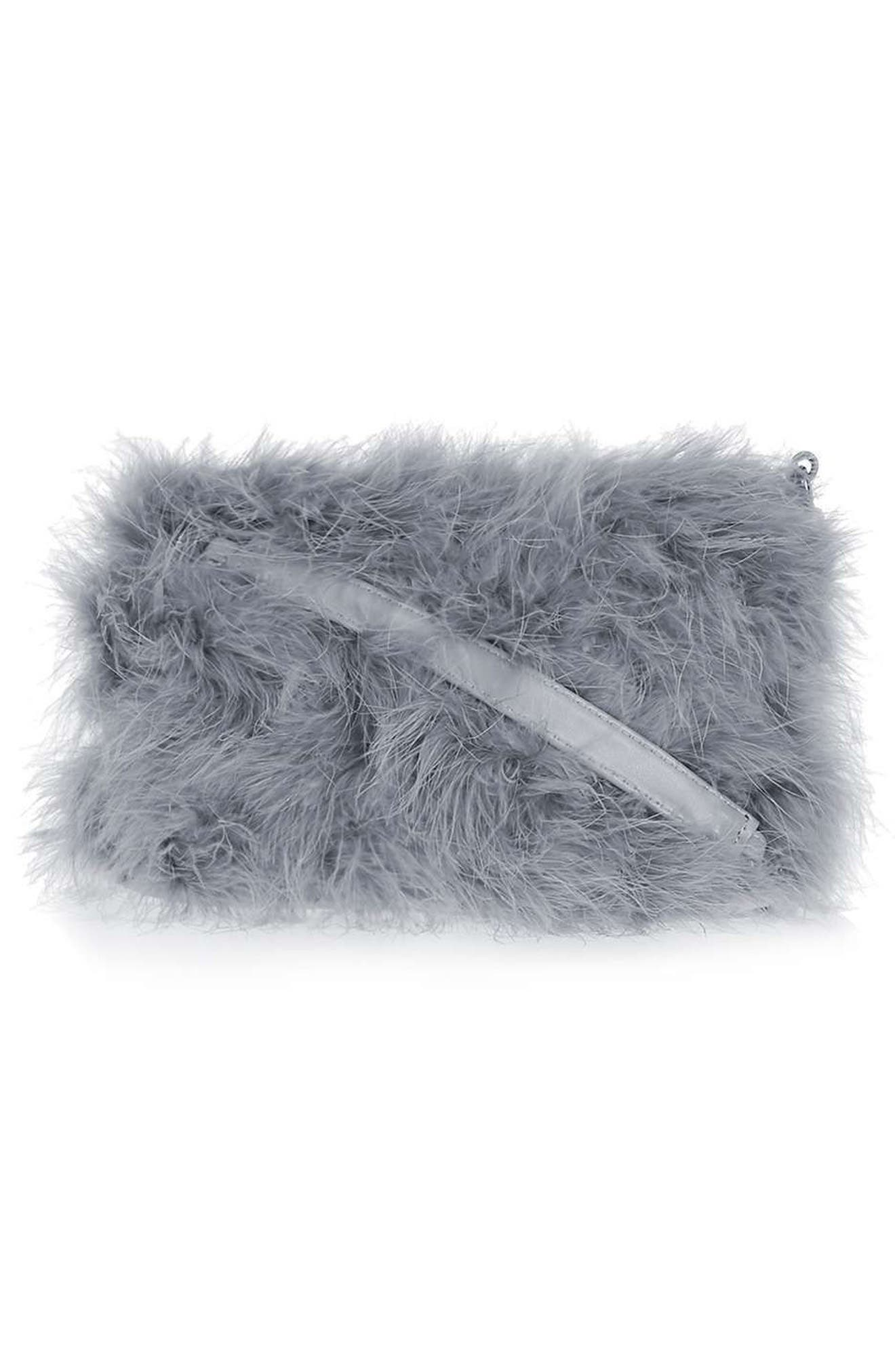 Faye Marabou Feather Bag,                             Alternate thumbnail 3, color,                             020